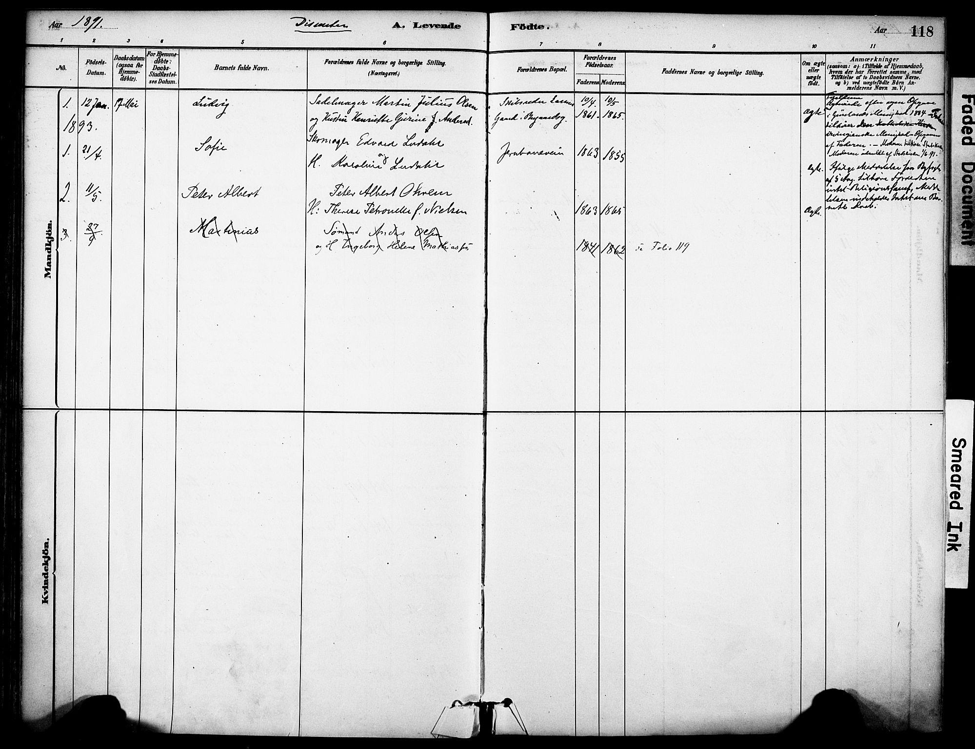 SAKO, Sandefjord kirkebøker, F/Fa/L0002: Ministerialbok nr. 2, 1880-1894, s. 118