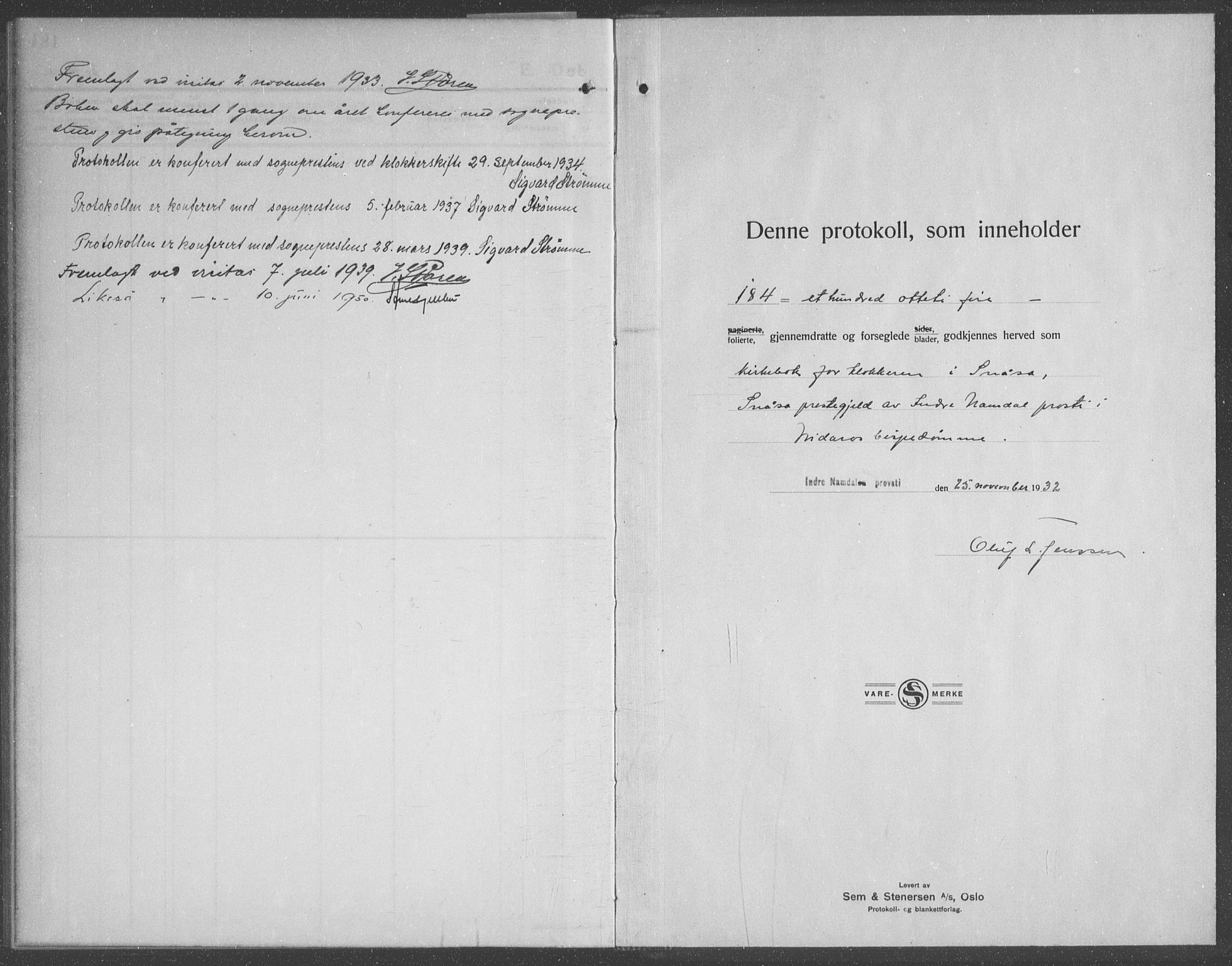 SAT, Ministerialprotokoller, klokkerbøker og fødselsregistre - Nord-Trøndelag, 749/L0481: Klokkerbok nr. 749C03, 1933-1945, s. 185