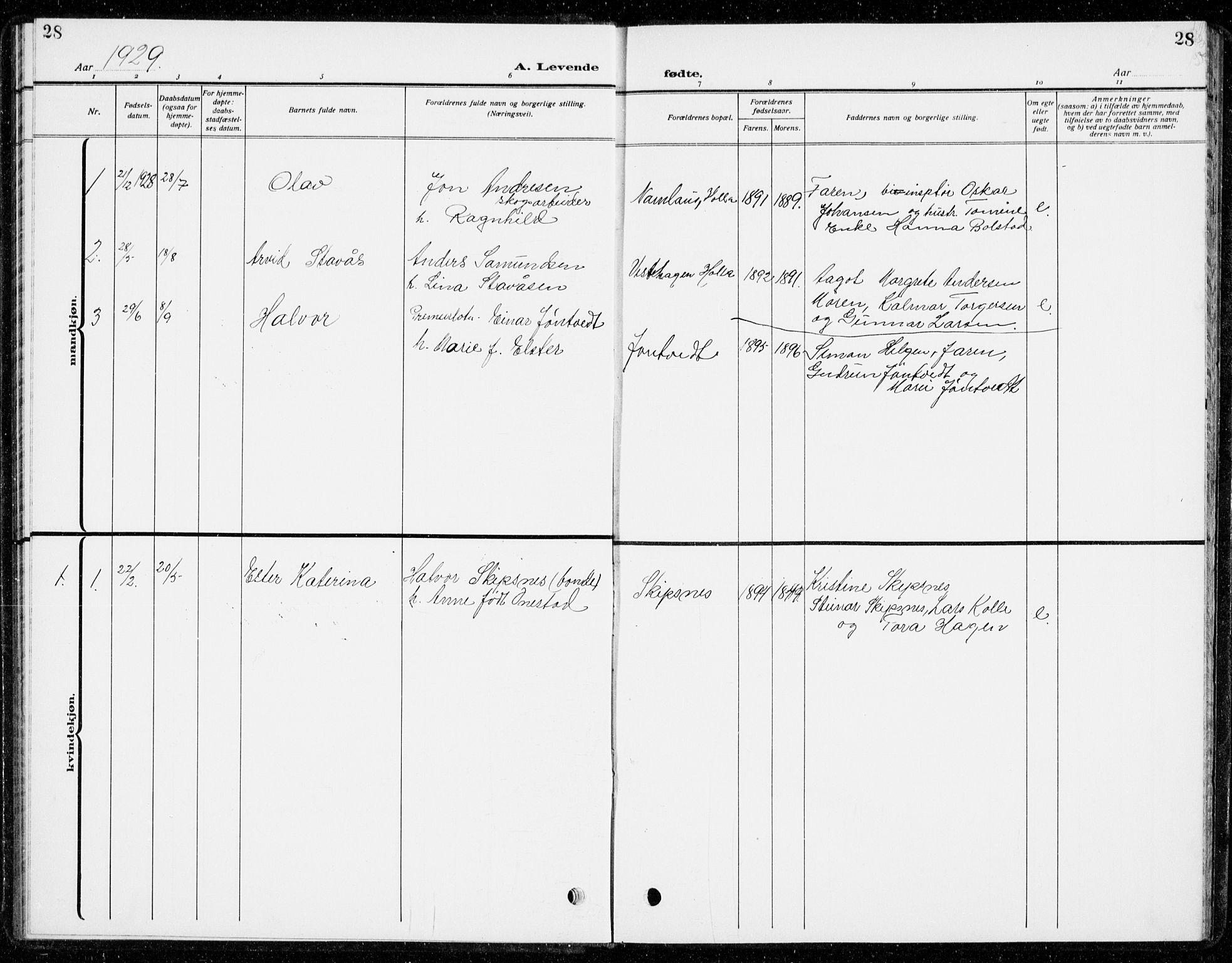 SAKO, Holla kirkebøker, G/Gb/L0003: Klokkerbok nr. II 3, 1914-1941, s. 28