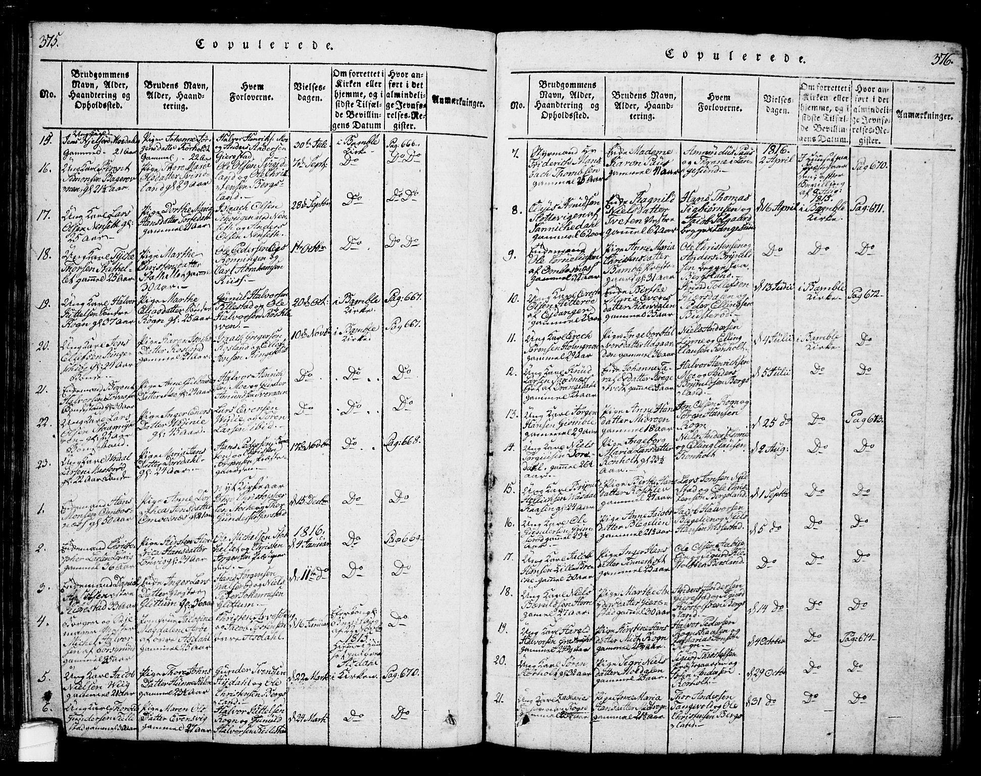 SAKO, Bamble kirkebøker, G/Ga/L0005: Klokkerbok nr. I 5, 1814-1855, s. 375-376