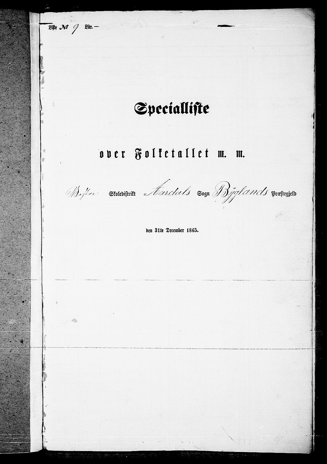 RA, Folketelling 1865 for 0938P Bygland prestegjeld, 1865, s. 90