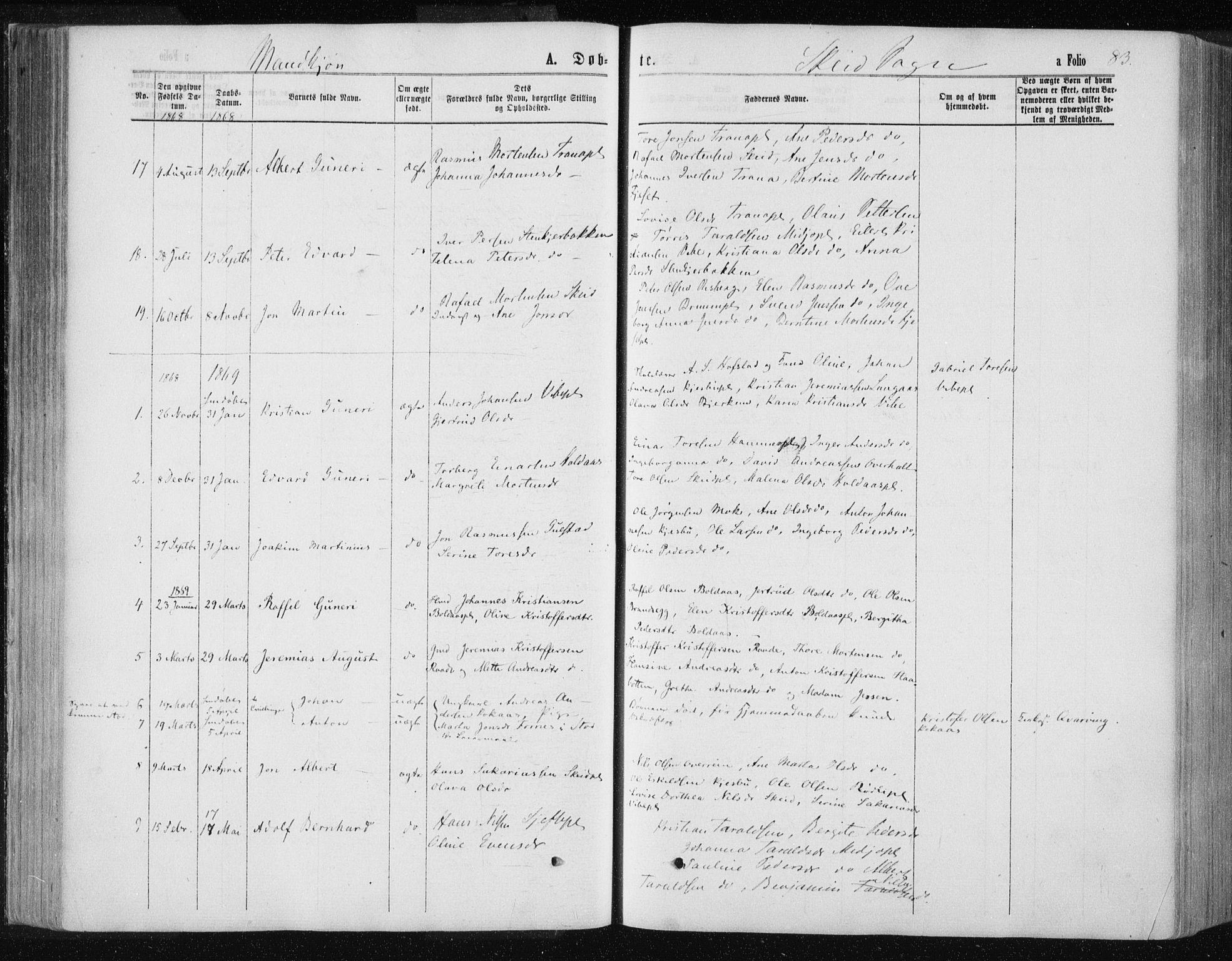 SAT, Ministerialprotokoller, klokkerbøker og fødselsregistre - Nord-Trøndelag, 735/L0345: Ministerialbok nr. 735A08 /2, 1863-1872, s. 83