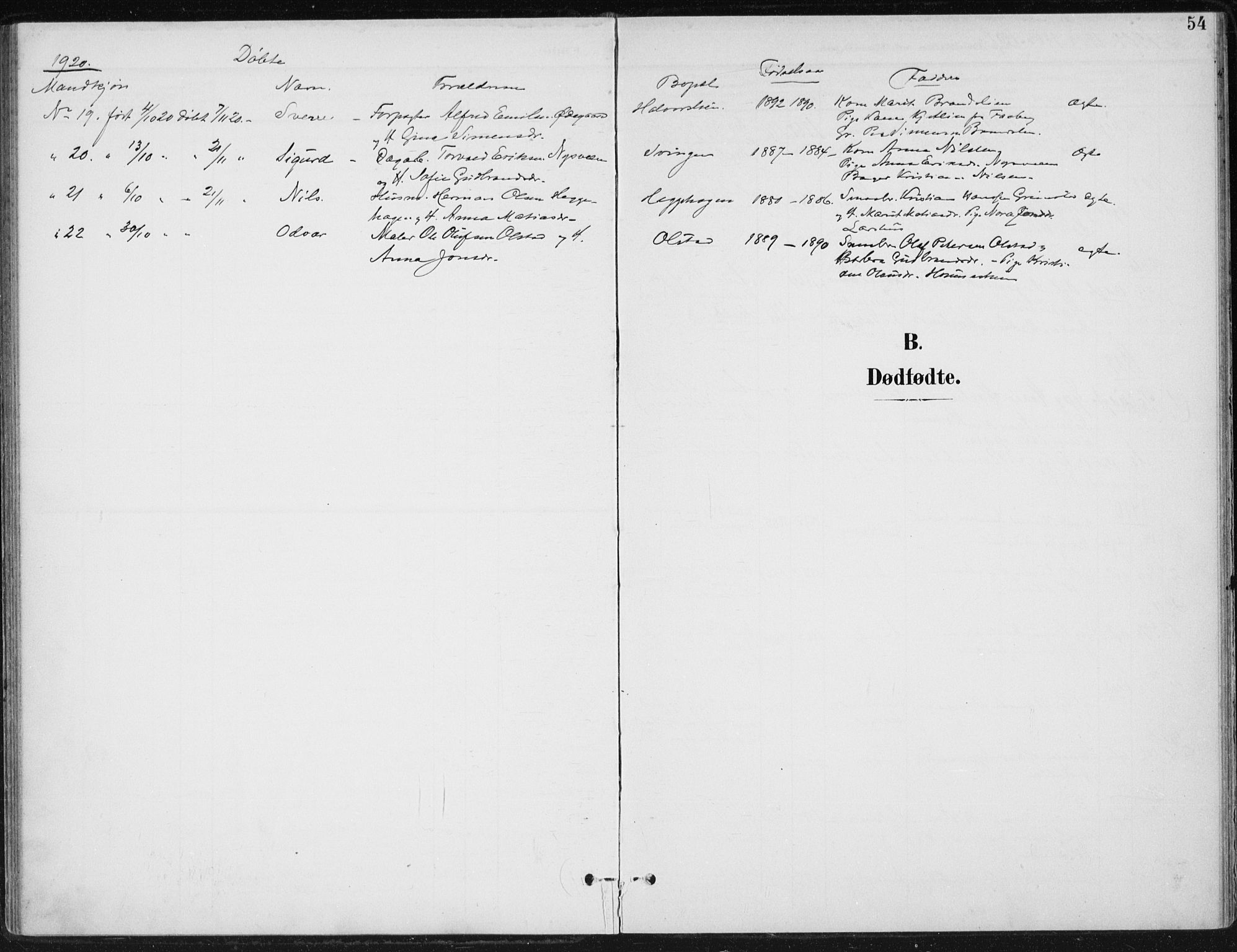 SAH, Østre Gausdal prestekontor, Ministerialbok nr. 5, 1902-1920, s. 54