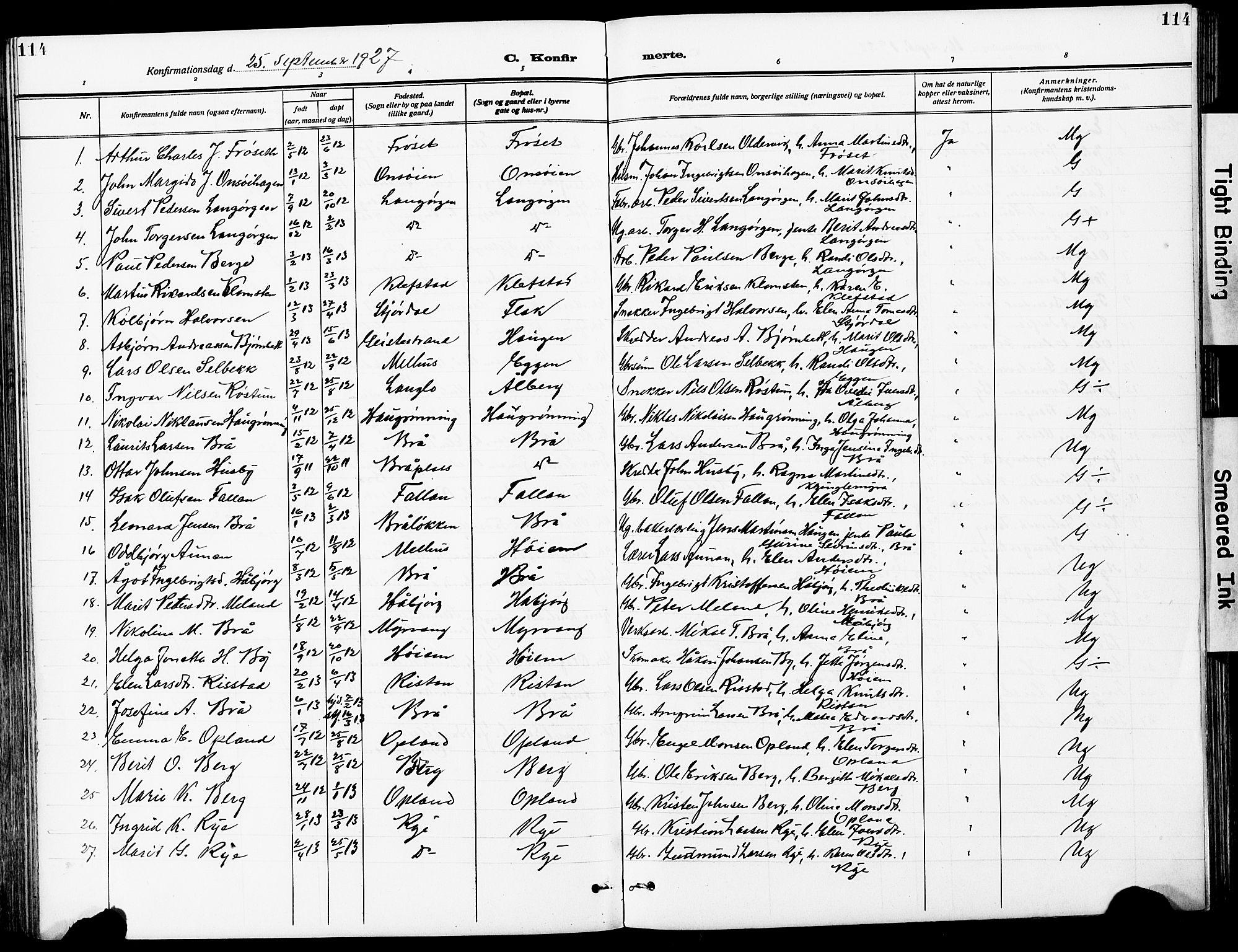 SAT, Ministerialprotokoller, klokkerbøker og fødselsregistre - Sør-Trøndelag, 612/L0388: Klokkerbok nr. 612C04, 1909-1929, s. 114