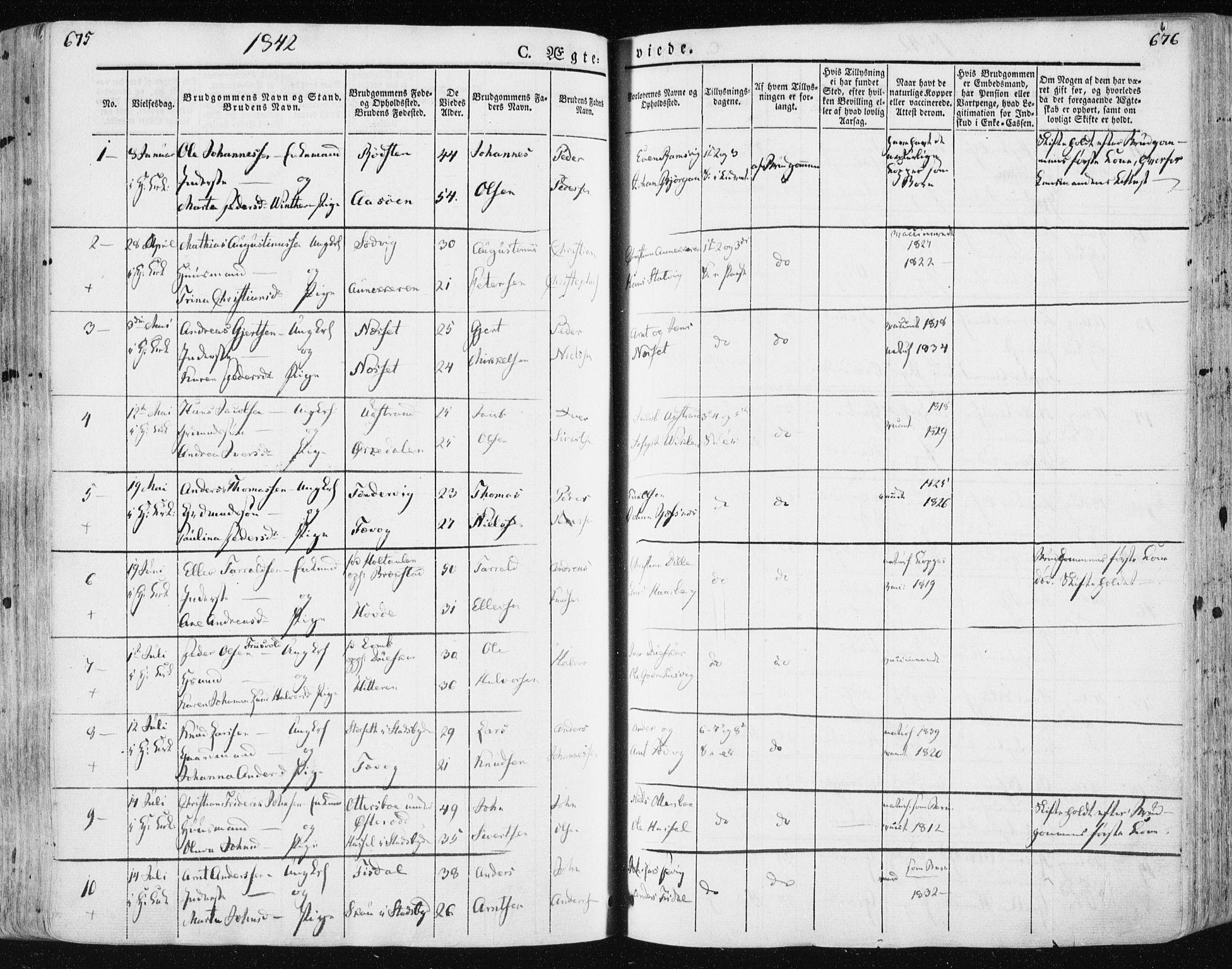 SAT, Ministerialprotokoller, klokkerbøker og fødselsregistre - Sør-Trøndelag, 659/L0736: Ministerialbok nr. 659A06, 1842-1856, s. 675-676