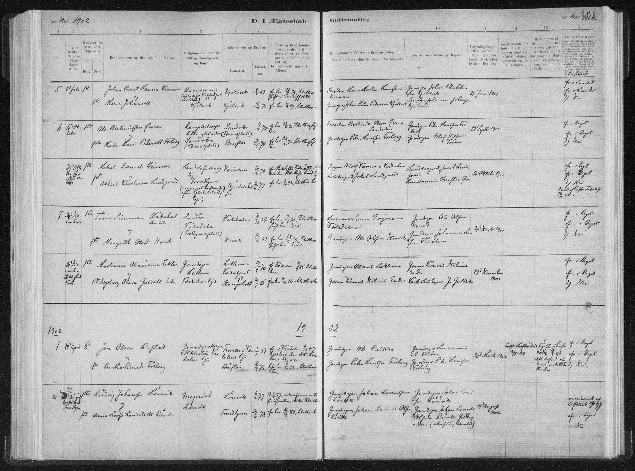 SAT, Ministerialprotokoller, klokkerbøker og fødselsregistre - Nord-Trøndelag, 722/L0220: Ministerialbok nr. 722A07, 1881-1908, s. 161