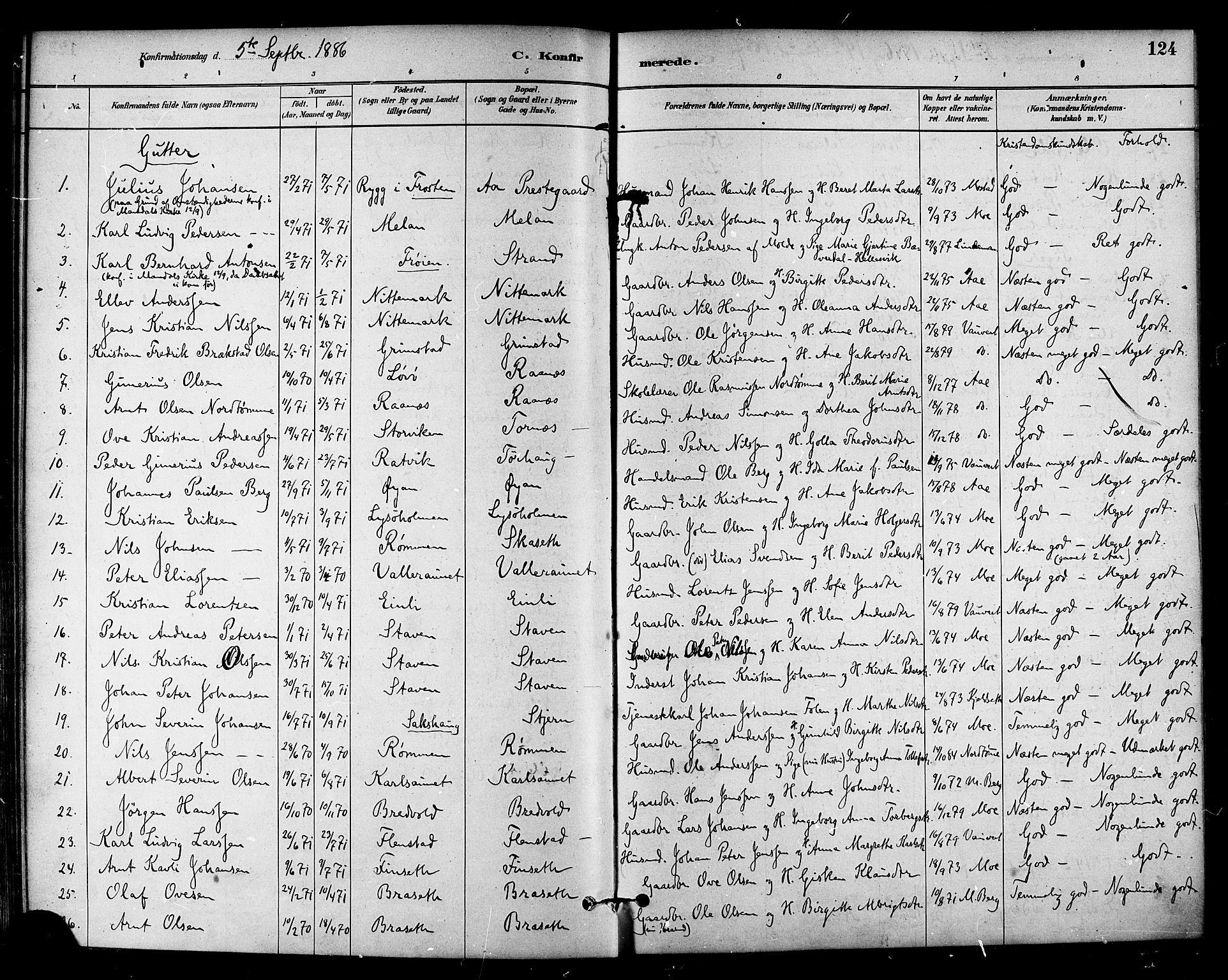 SAT, Ministerialprotokoller, klokkerbøker og fødselsregistre - Sør-Trøndelag, 655/L0680: Ministerialbok nr. 655A09, 1880-1894, s. 124