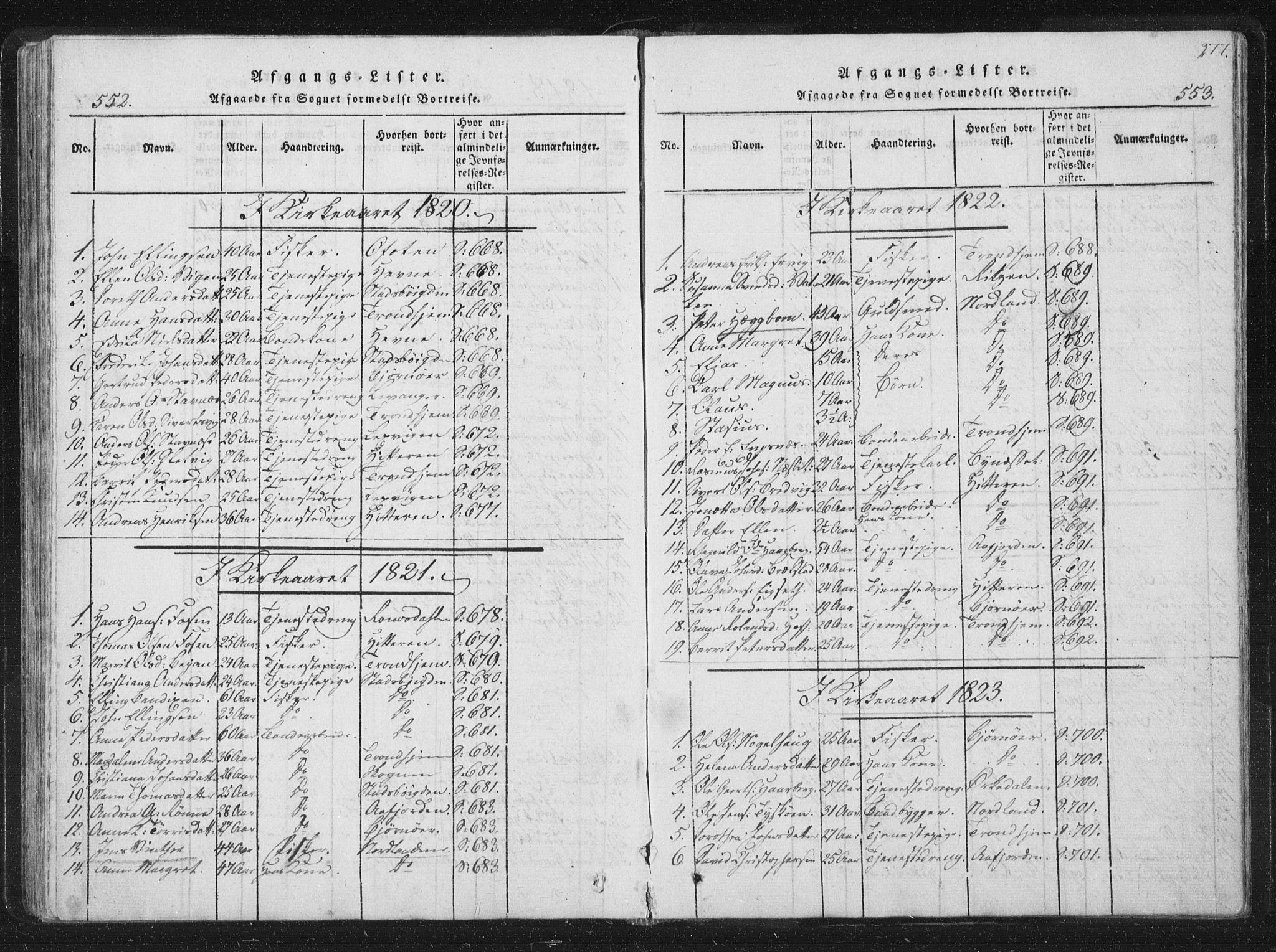 SAT, Ministerialprotokoller, klokkerbøker og fødselsregistre - Sør-Trøndelag, 659/L0734: Ministerialbok nr. 659A04, 1818-1825, s. 552-553