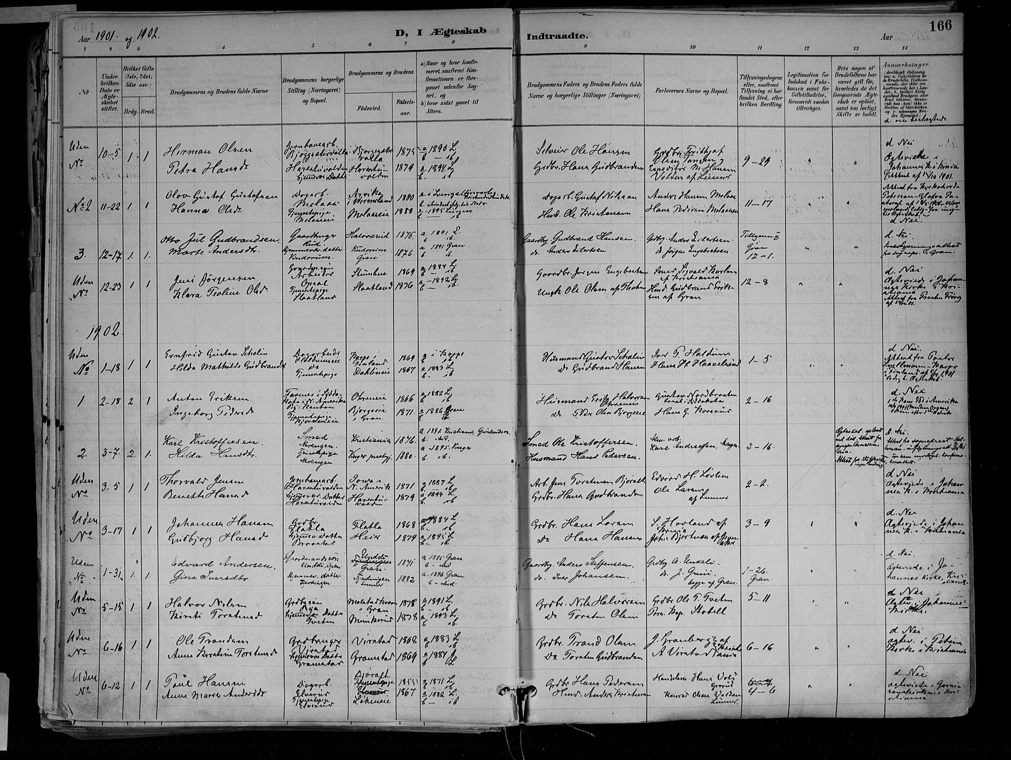 SAH, Jevnaker prestekontor, Ministerialbok nr. 10, 1891-1906, s. 166