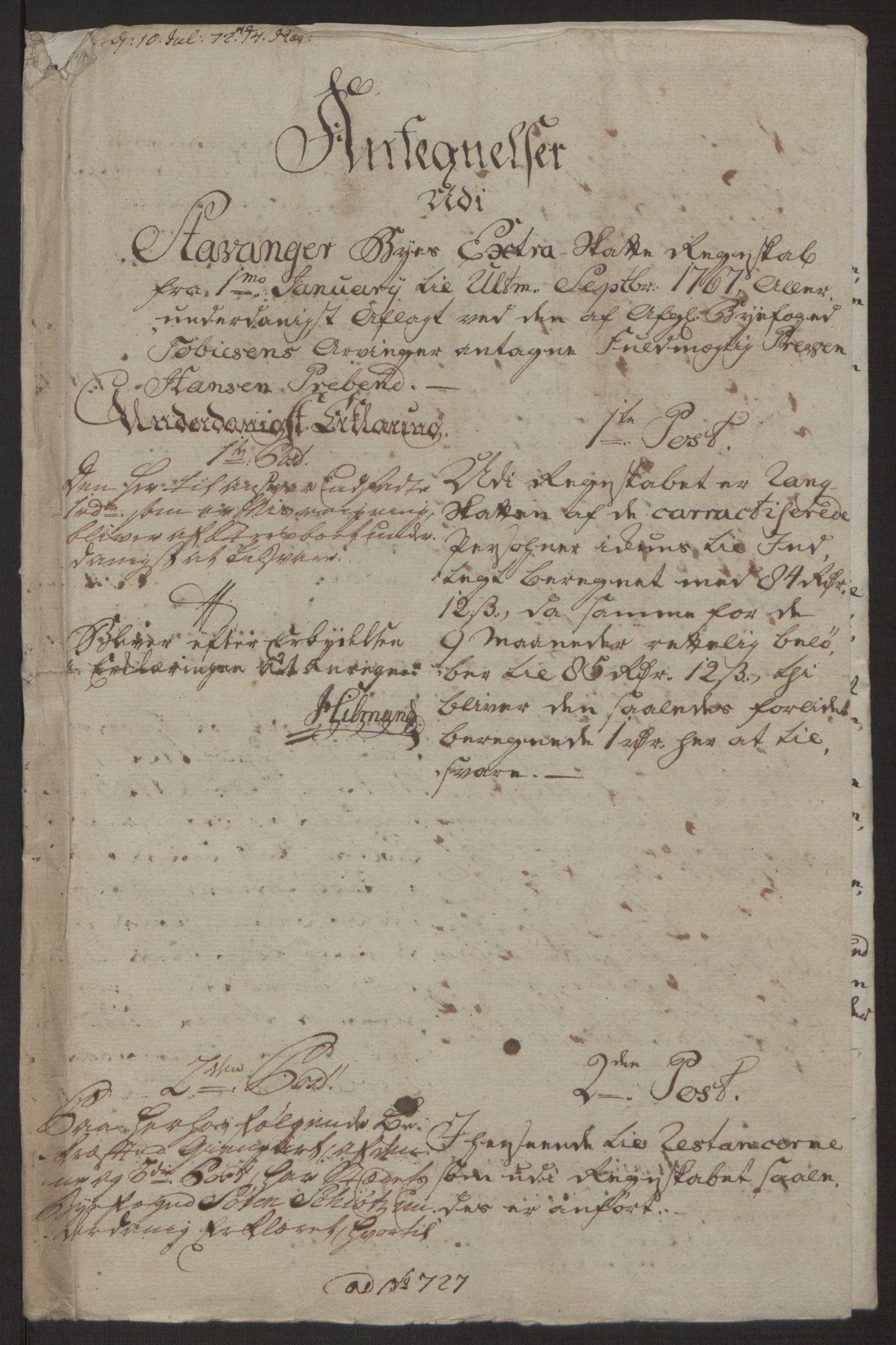 RA, Rentekammeret inntil 1814, Reviderte regnskaper, Byregnskaper, R/Ro/L0305: [O6] Kontribusjonsregnskap, 1762-1768, s. 259