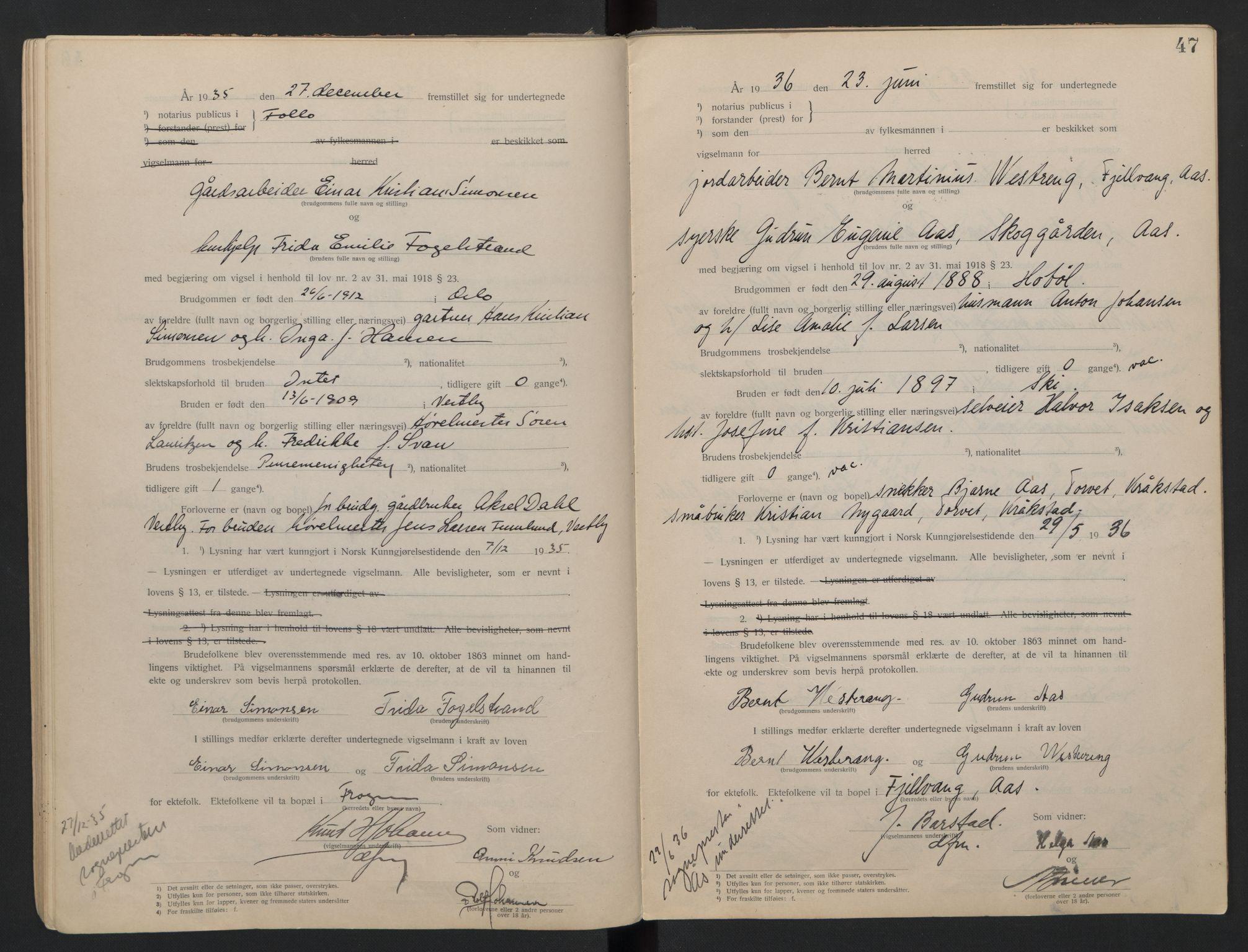 SAO, Follo sorenskriveri, L/La/Lab/L0001: Vigselsbok, 1920-1942, s. 47