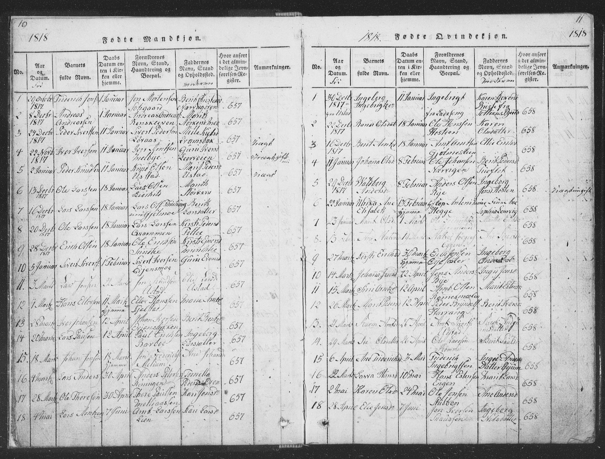 SAT, Ministerialprotokoller, klokkerbøker og fødselsregistre - Sør-Trøndelag, 668/L0816: Klokkerbok nr. 668C05, 1816-1893, s. 10-11
