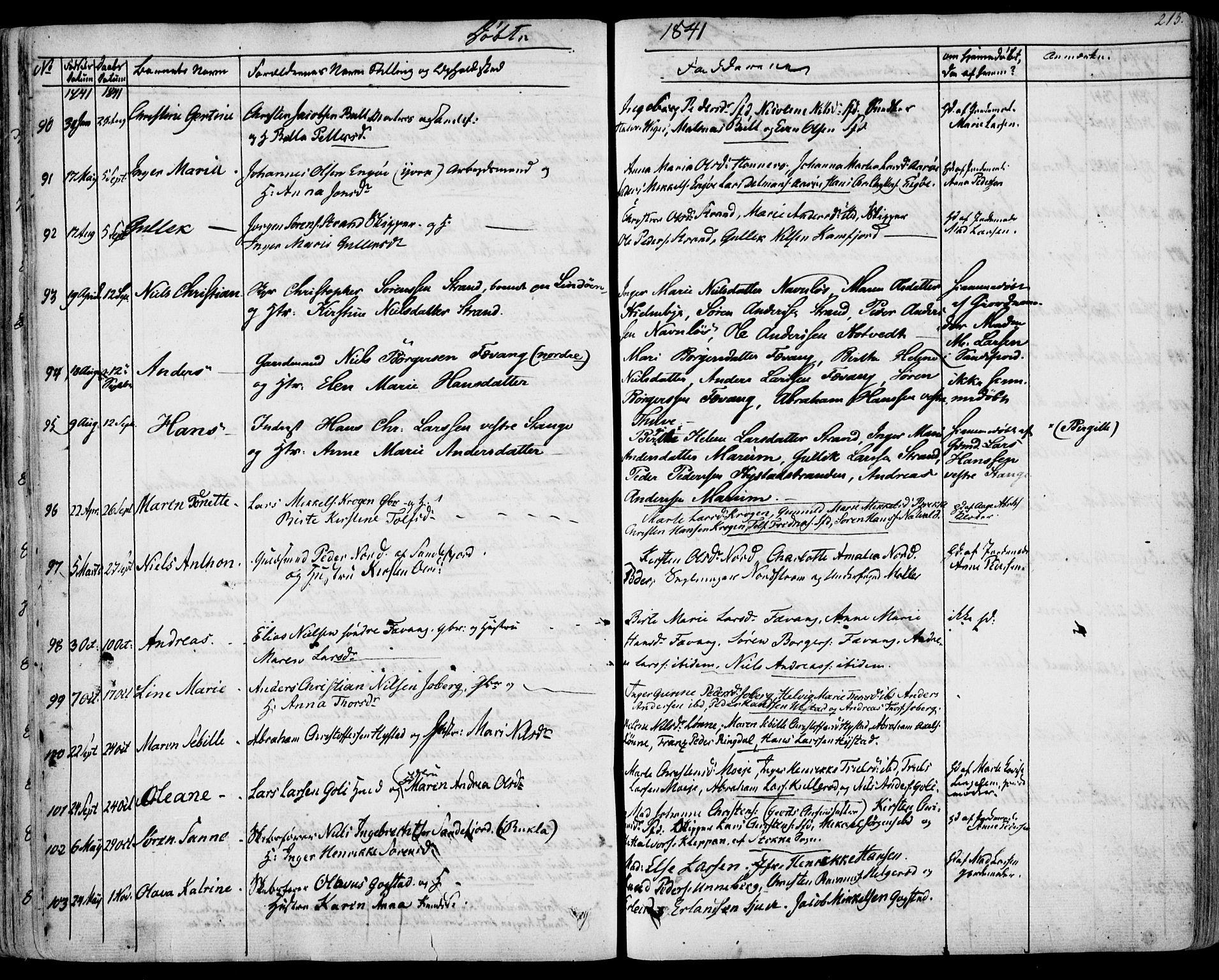 SAKO, Sandar kirkebøker, F/Fa/L0005: Ministerialbok nr. 5, 1832-1847, s. 214-215