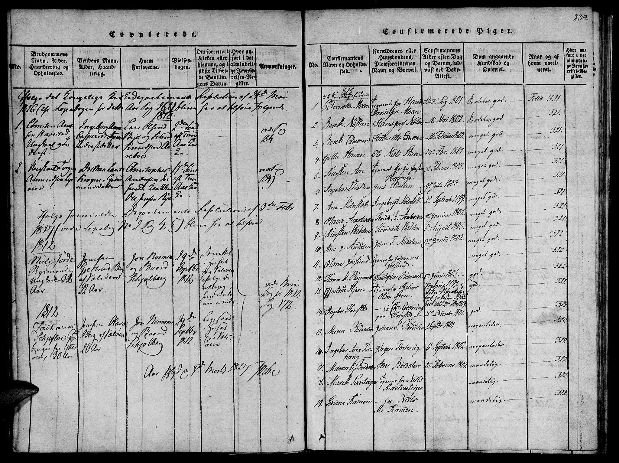 SAT, Ministerialprotokoller, klokkerbøker og fødselsregistre - Sør-Trøndelag, 655/L0675: Ministerialbok nr. 655A04, 1818-1830, s. 230