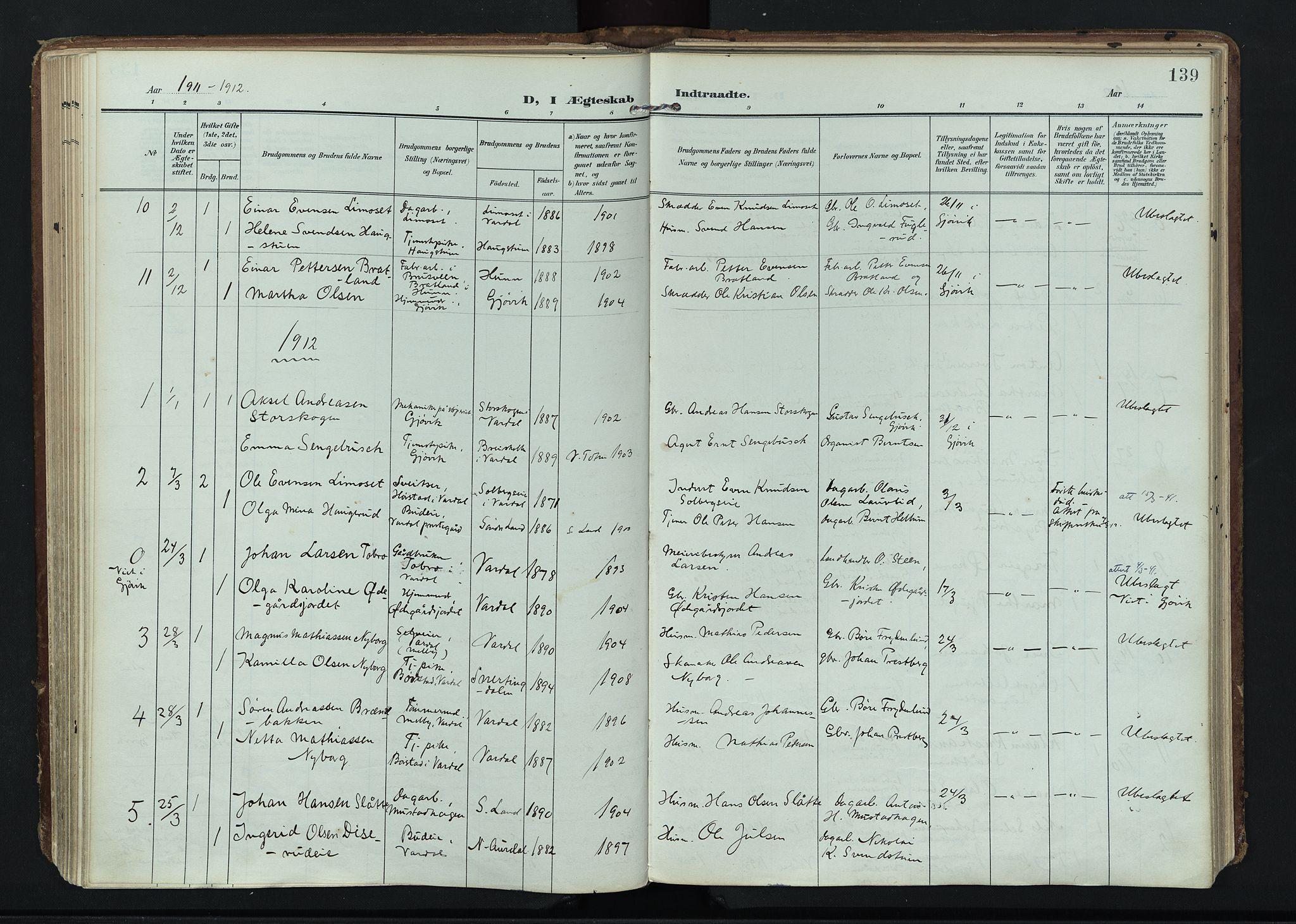 SAH, Vardal prestekontor, H/Ha/Haa/L0020: Ministerialbok nr. 20, 1907-1921, s. 139