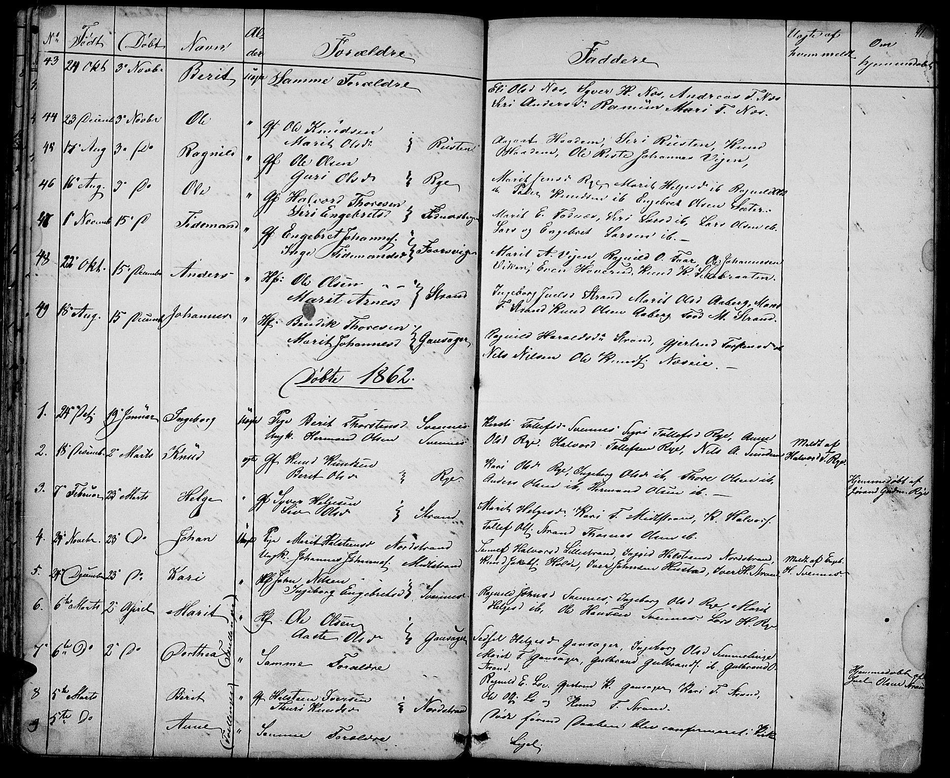 SAH, Nord-Aurdal prestekontor, Klokkerbok nr. 3, 1842-1882, s. 41