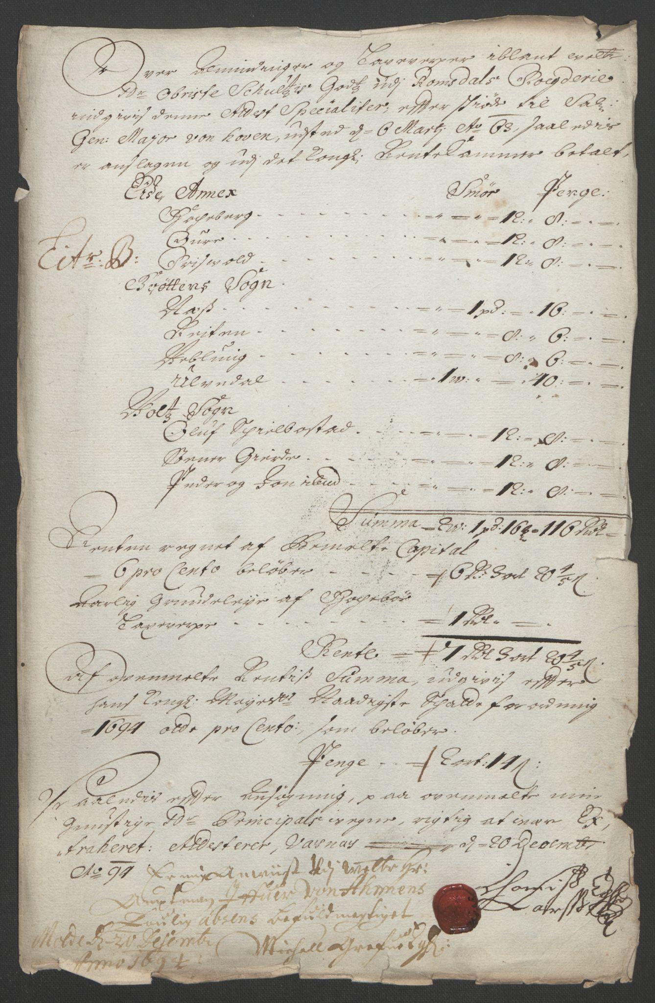 RA, Rentekammeret inntil 1814, Reviderte regnskaper, Fogderegnskap, R55/L3651: Fogderegnskap Romsdal, 1693-1694, s. 229