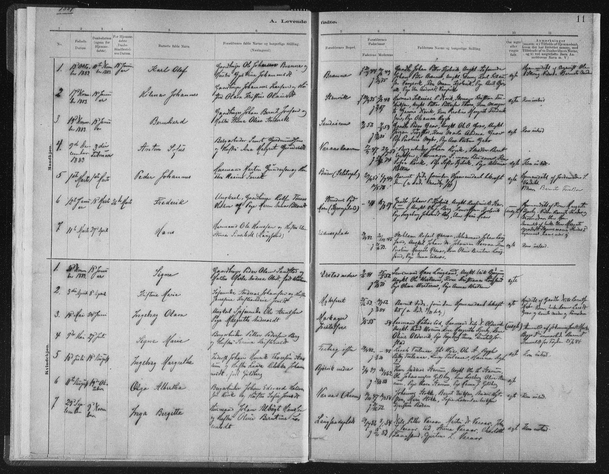 SAT, Ministerialprotokoller, klokkerbøker og fødselsregistre - Nord-Trøndelag, 722/L0220: Ministerialbok nr. 722A07, 1881-1908, s. 11