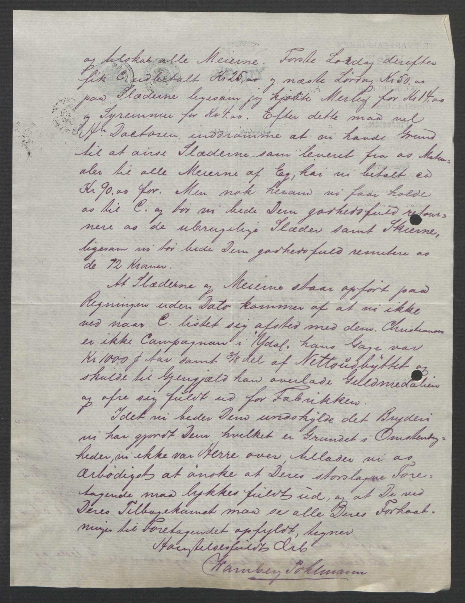 RA, Arbeidskomitéen for Fridtjof Nansens polarekspedisjon, D/L0003: Innk. brev og telegrammer vedr. proviant og utrustning, 1893, s. 393