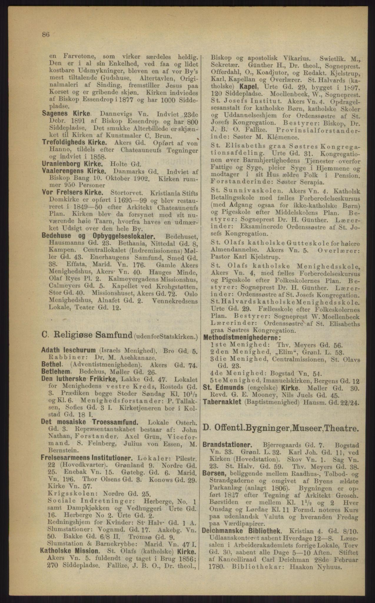 RA, Kristiania adressebok (publikasjon)*, 1903, s. 86
