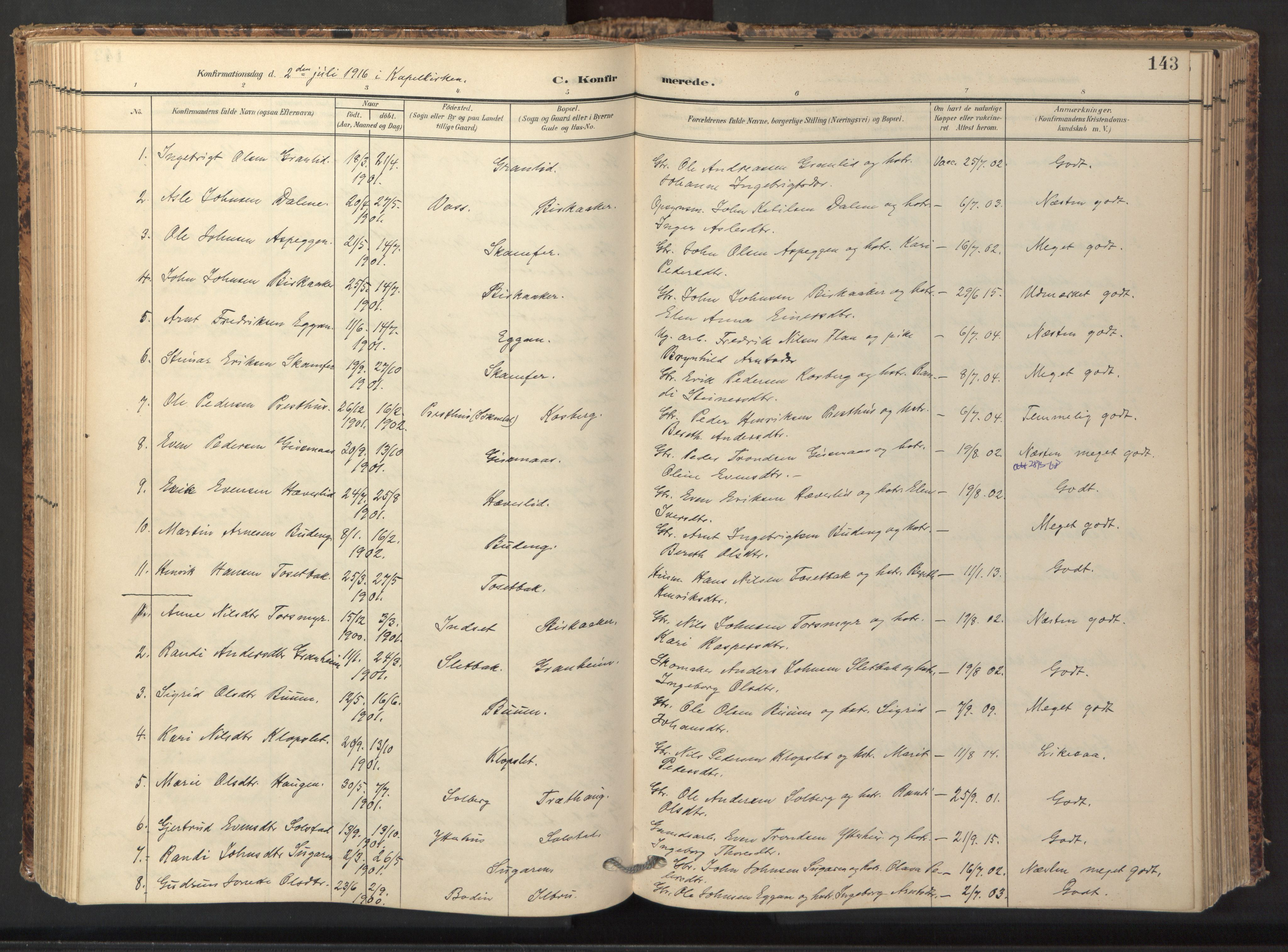 SAT, Ministerialprotokoller, klokkerbøker og fødselsregistre - Sør-Trøndelag, 674/L0873: Ministerialbok nr. 674A05, 1908-1923, s. 143
