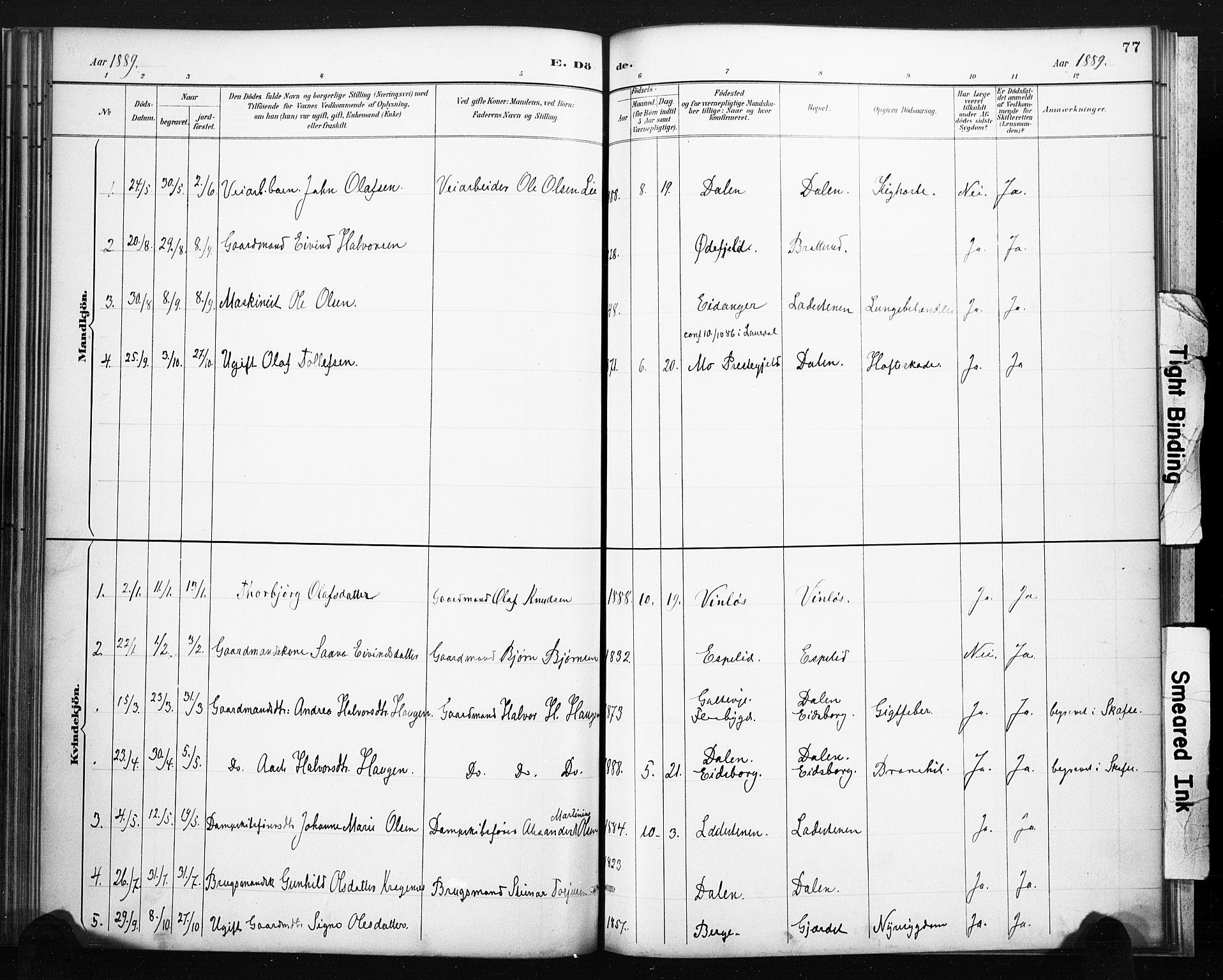SAKO, Lårdal kirkebøker, F/Fb/L0002: Ministerialbok nr. II 2, 1887-1918, s. 77