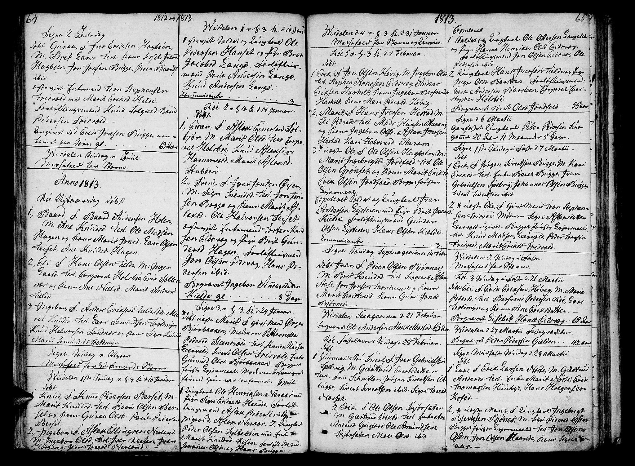 SAT, Ministerialprotokoller, klokkerbøker og fødselsregistre - Møre og Romsdal, 551/L0622: Ministerialbok nr. 551A02, 1804-1845, s. 64-65