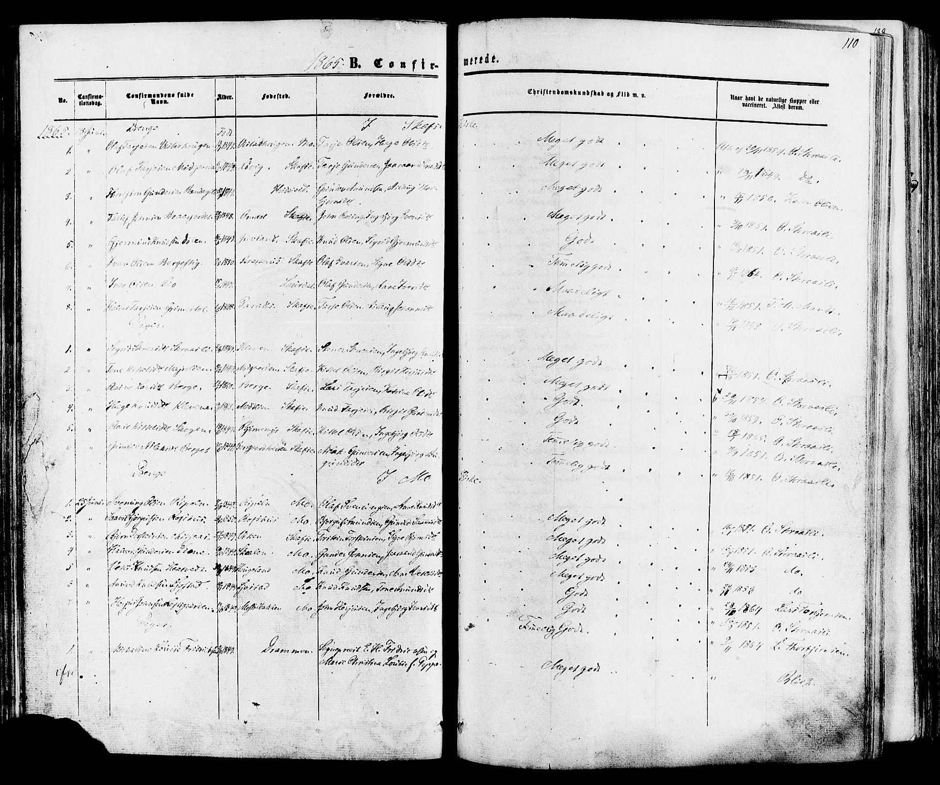 SAKO, Mo kirkebøker, F/Fa/L0006: Ministerialbok nr. I 6, 1865-1885, s. 110