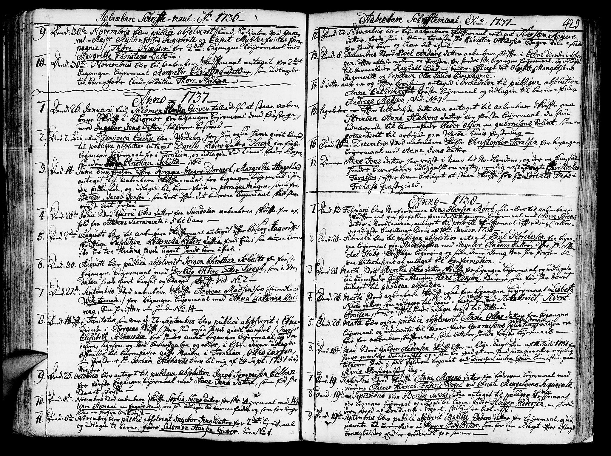 SAT, Ministerialprotokoller, klokkerbøker og fødselsregistre - Sør-Trøndelag, 602/L0103: Ministerialbok nr. 602A01, 1732-1774, s. 423