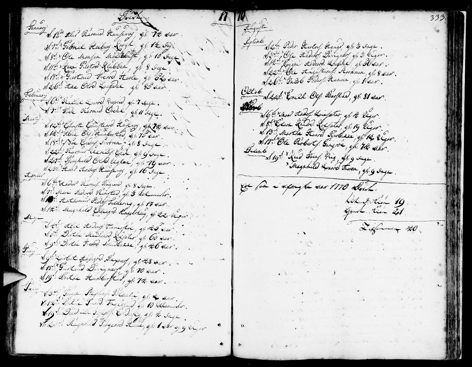 SAB, Davik Sokneprestembete, Ministerialbok nr. A 2, 1742-1816, s. 333