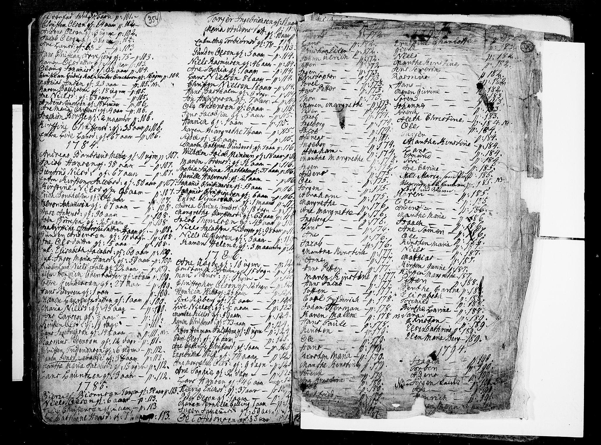 SAKO, Porsgrunn kirkebøker , F/Fa/L0002: Ministerialbok nr. 2, 1764-1814, s. 354-355