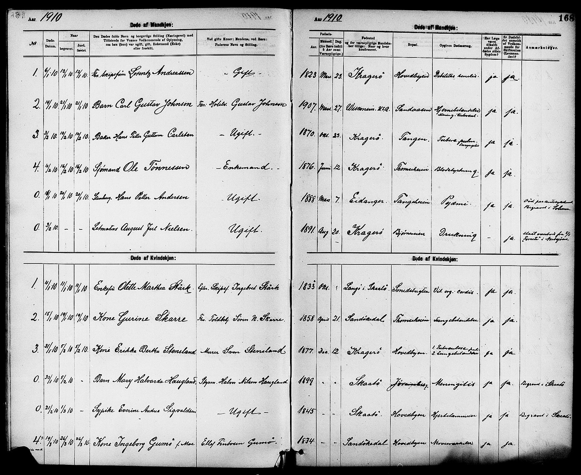 SAKO, Kragerø kirkebøker, G/Ga/L0008: Klokkerbok nr. 8, 1881-1914, s. 168