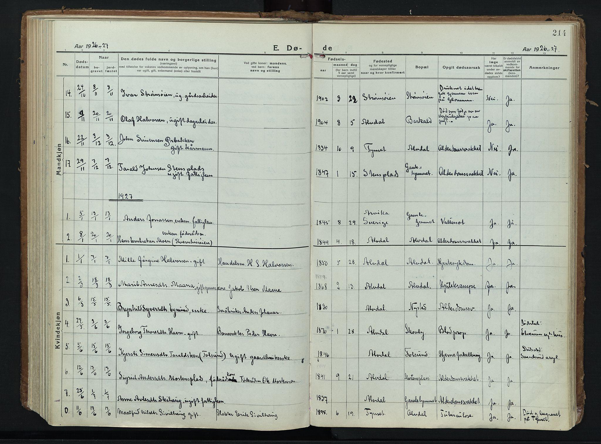 SAH, Alvdal prestekontor, Ministerialbok nr. 6, 1920-1937, s. 214
