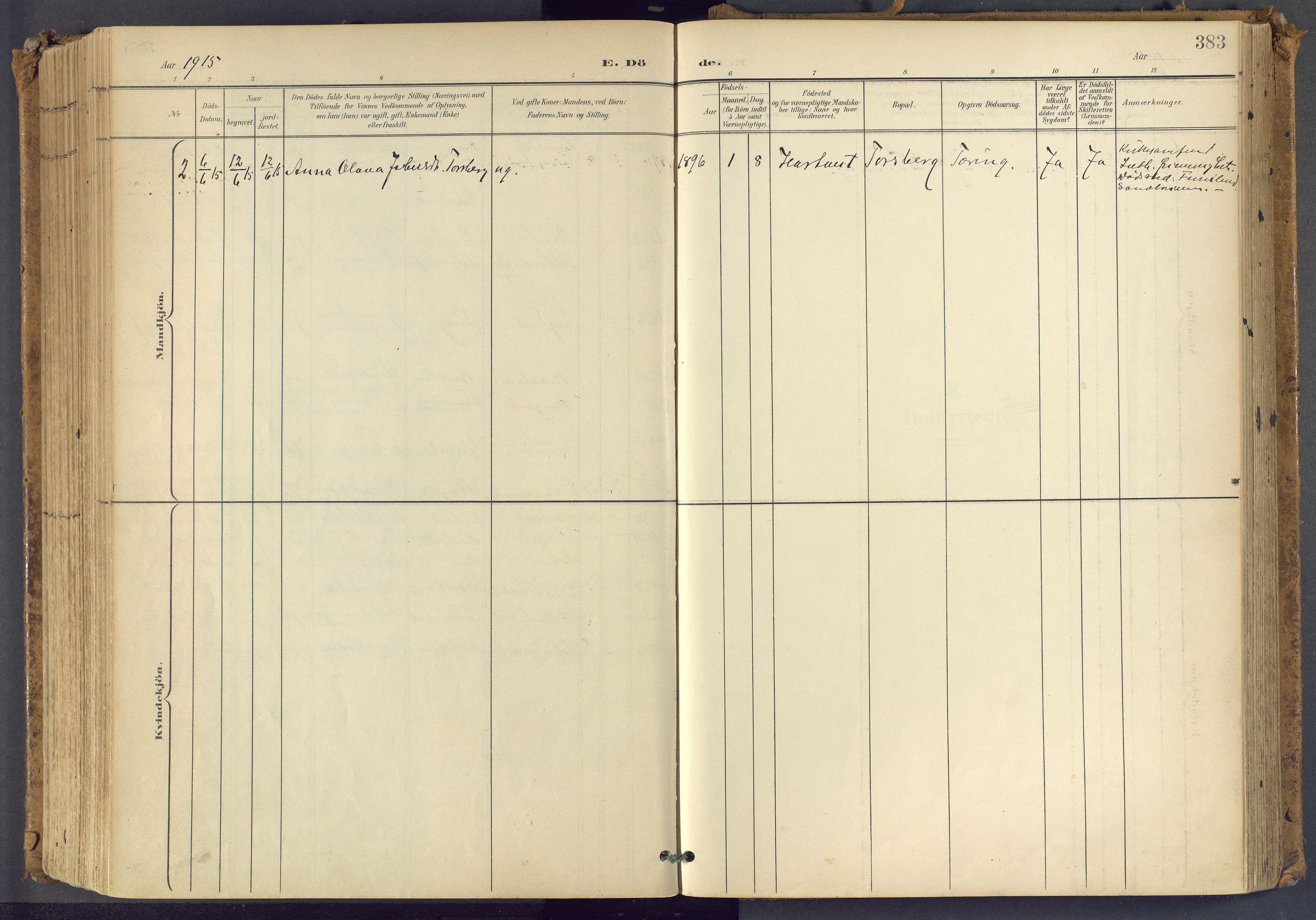 SAKO, Bamble kirkebøker, F/Fa/L0009: Ministerialbok nr. I 9, 1901-1917, s. 383