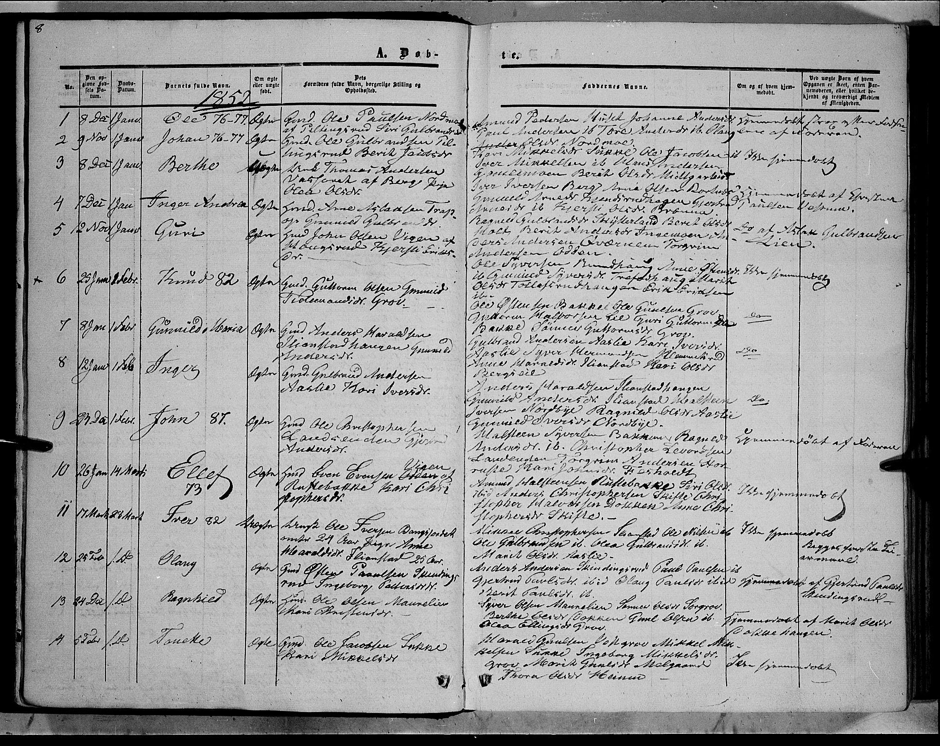 SAH, Sør-Aurdal prestekontor, Ministerialbok nr. 7, 1849-1876, s. 8