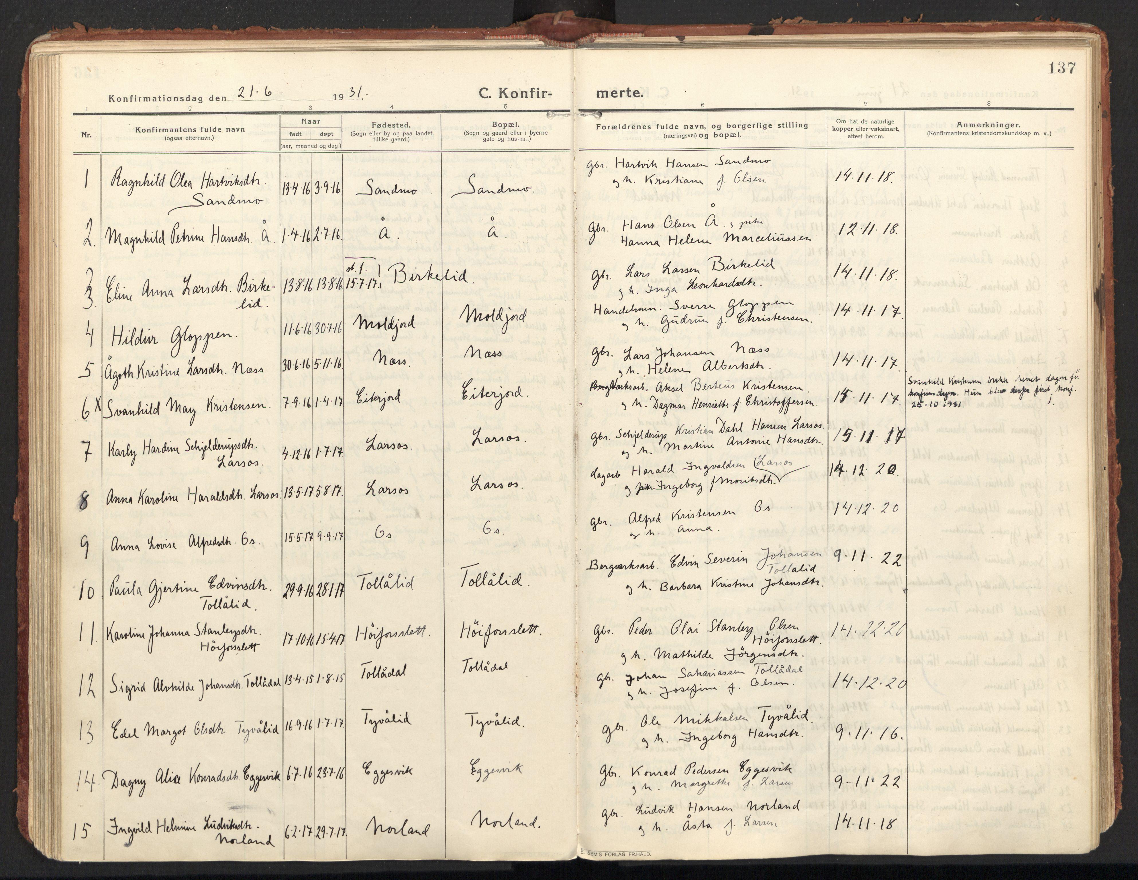 SAT, Ministerialprotokoller, klokkerbøker og fødselsregistre - Nordland, 846/L0650: Ministerialbok nr. 846A08, 1916-1935, s. 137