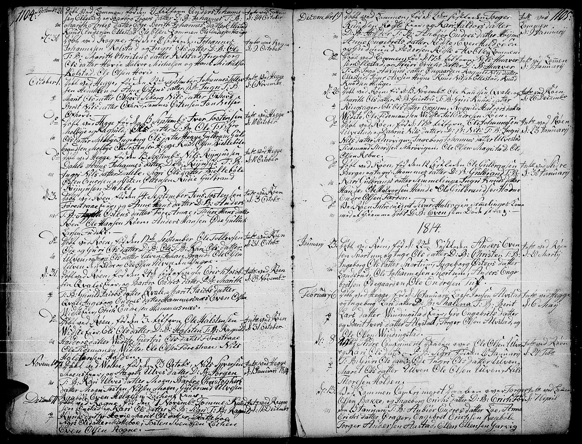 SAH, Slidre prestekontor, Ministerialbok nr. 1, 1724-1814, s. 1104-1105