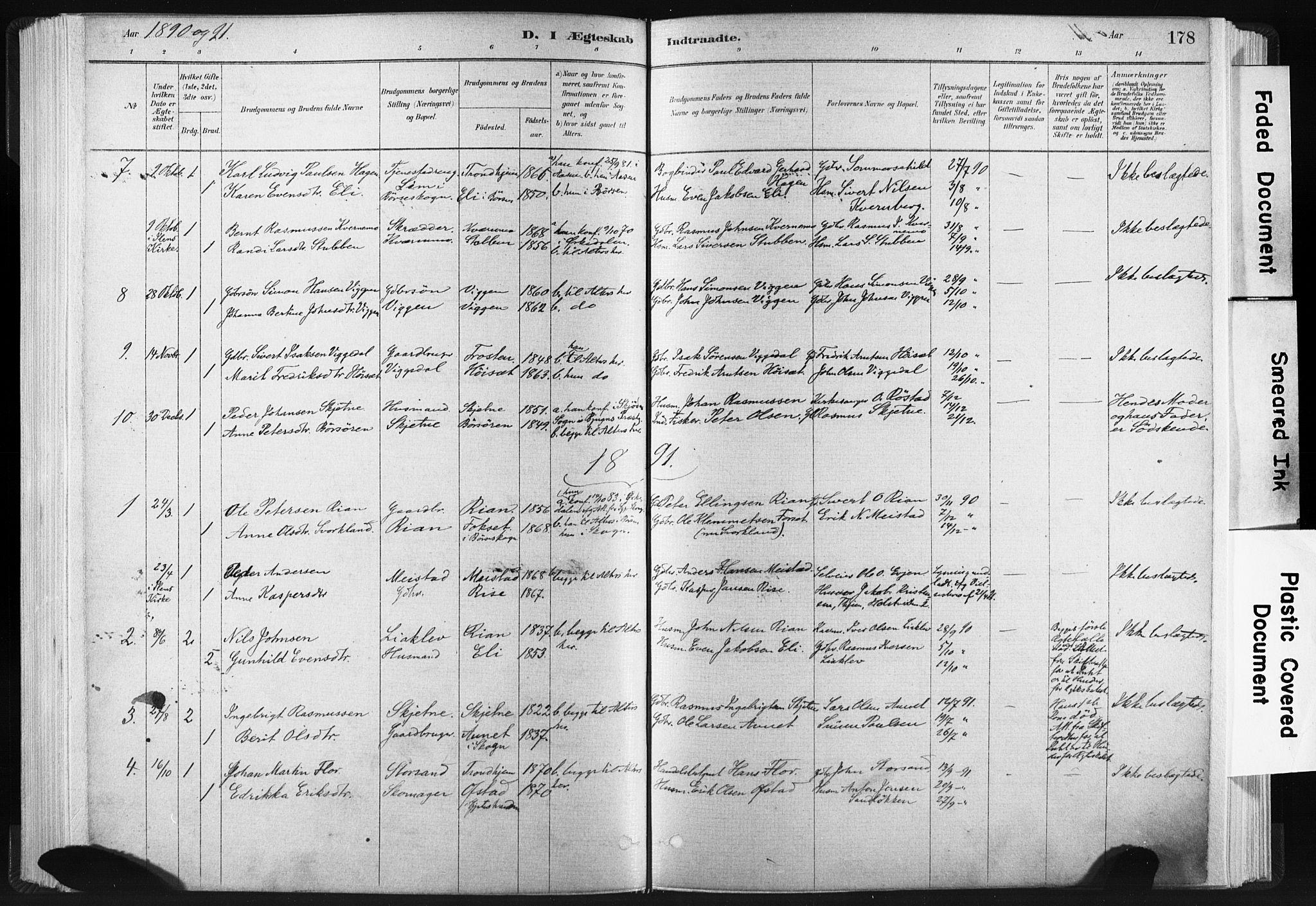SAT, Ministerialprotokoller, klokkerbøker og fødselsregistre - Sør-Trøndelag, 665/L0773: Ministerialbok nr. 665A08, 1879-1905, s. 178