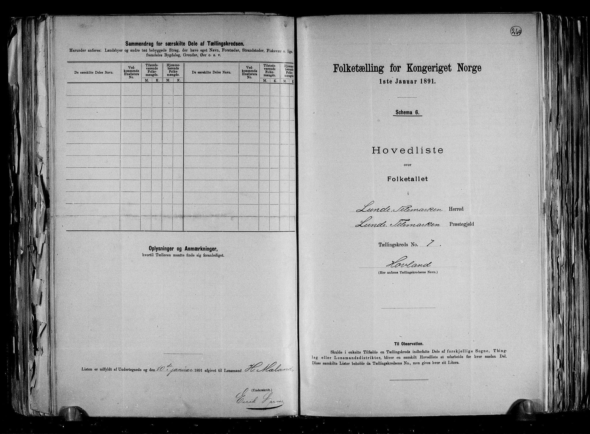 RA, Folketelling 1891 for 0820 Lunde herred, 1891, s. 17