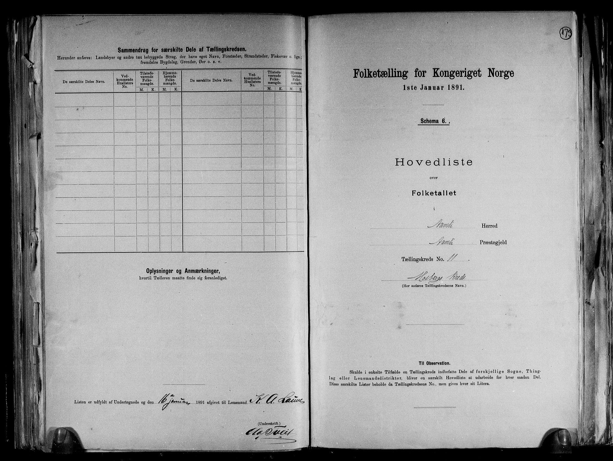 RA, Folketelling 1891 for 0929 Åmli herred, 1891, s. 25