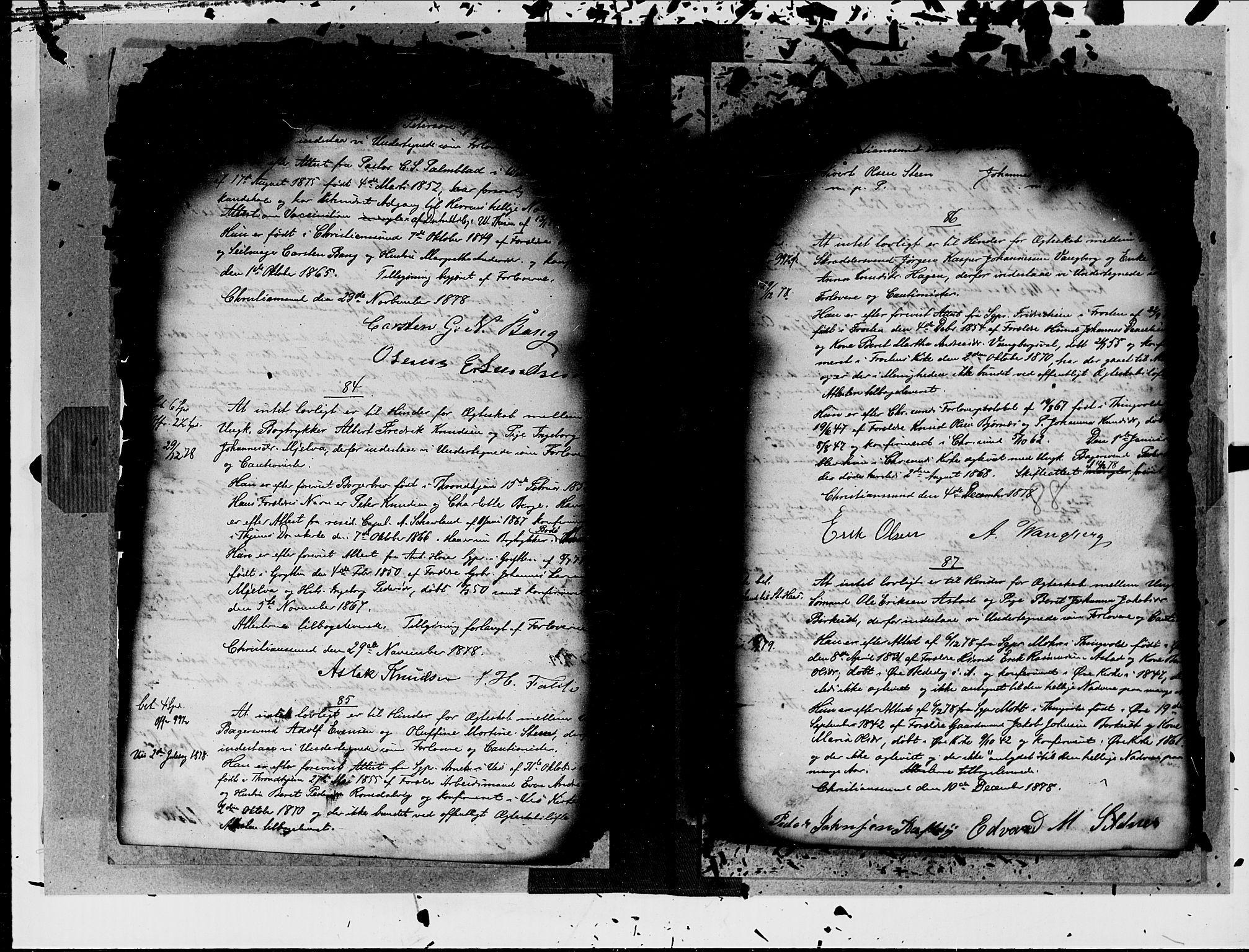 SAT, Arkivreferanse ukjent*, Forlovererklæringer nr. 19, 1875-1881, s. 88