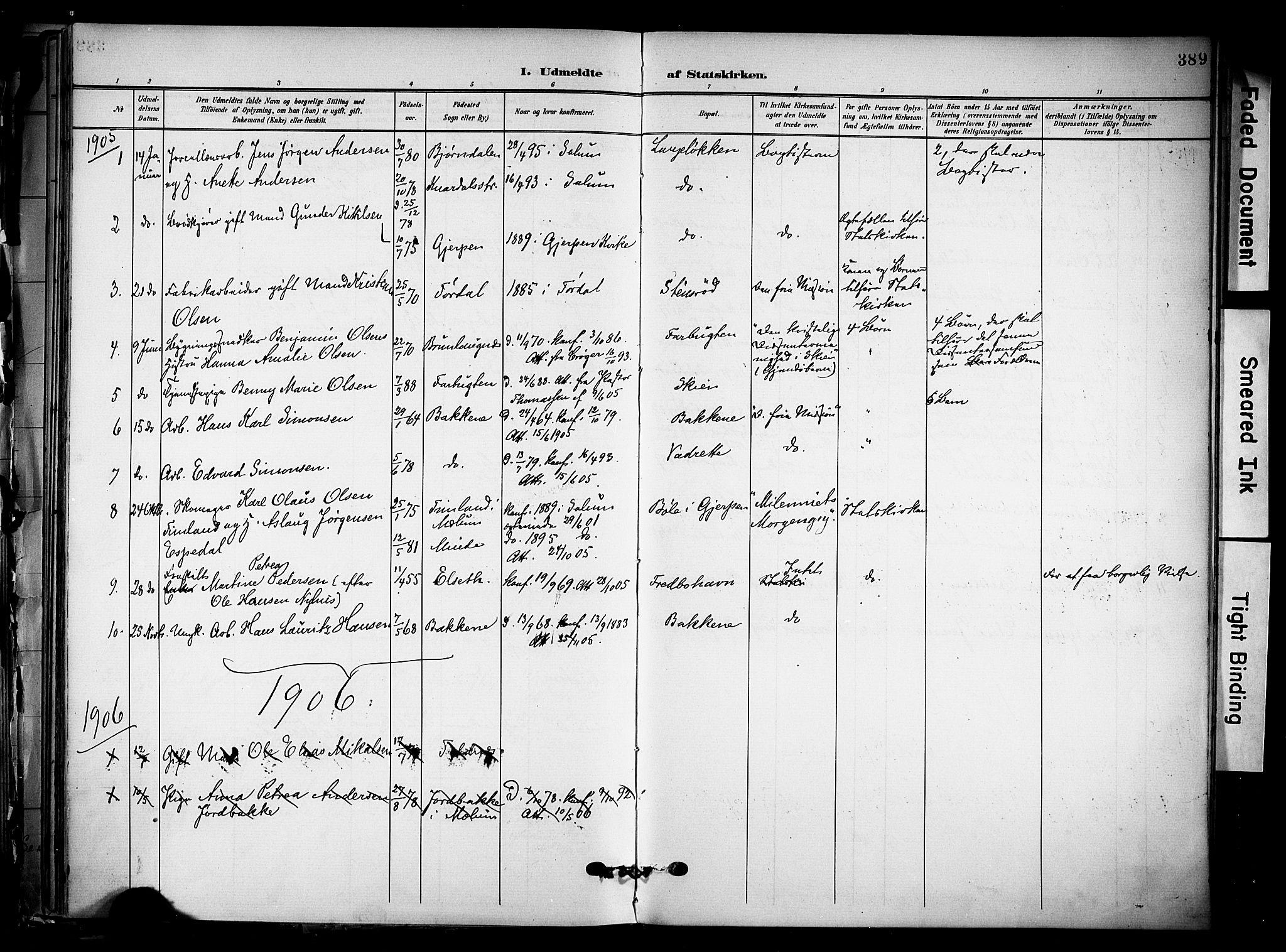 SAKO, Solum kirkebøker, F/Fa/L0011: Ministerialbok nr. I 11, 1898-1909, s. 389