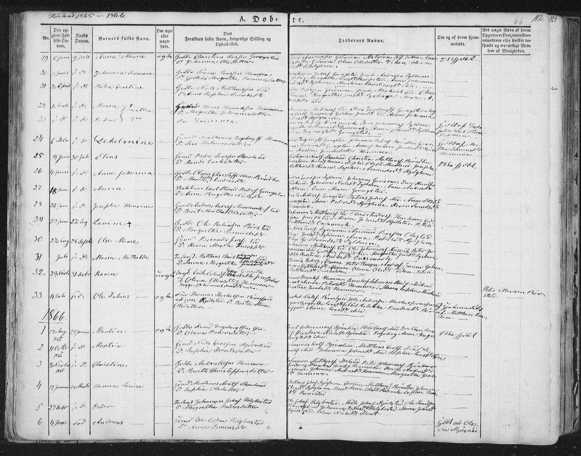 SAT, Ministerialprotokoller, klokkerbøker og fødselsregistre - Nord-Trøndelag, 758/L0513: Ministerialbok nr. 758A02 /2, 1839-1868, s. 66