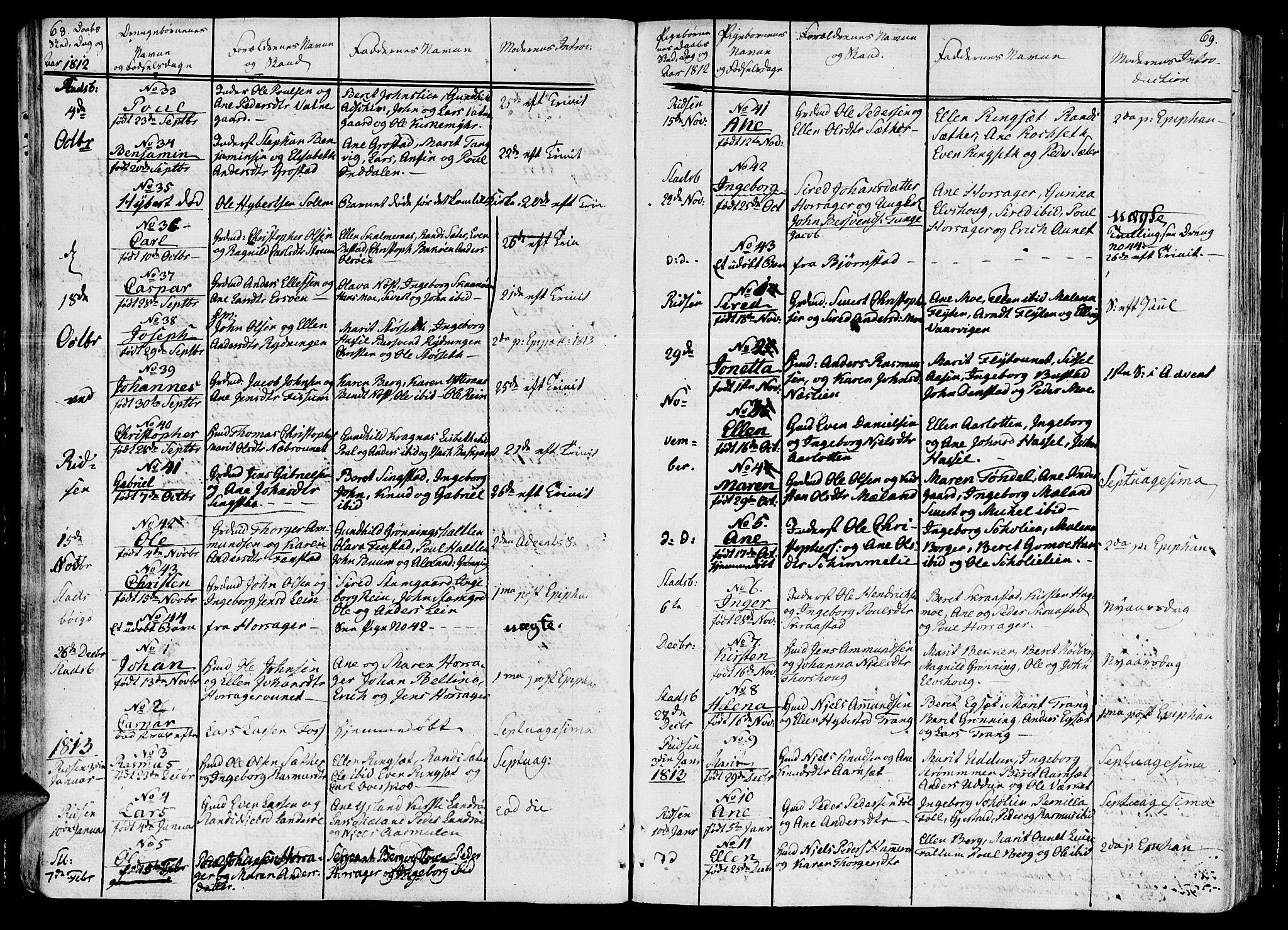 SAT, Ministerialprotokoller, klokkerbøker og fødselsregistre - Sør-Trøndelag, 646/L0607: Ministerialbok nr. 646A05, 1806-1815, s. 68-69
