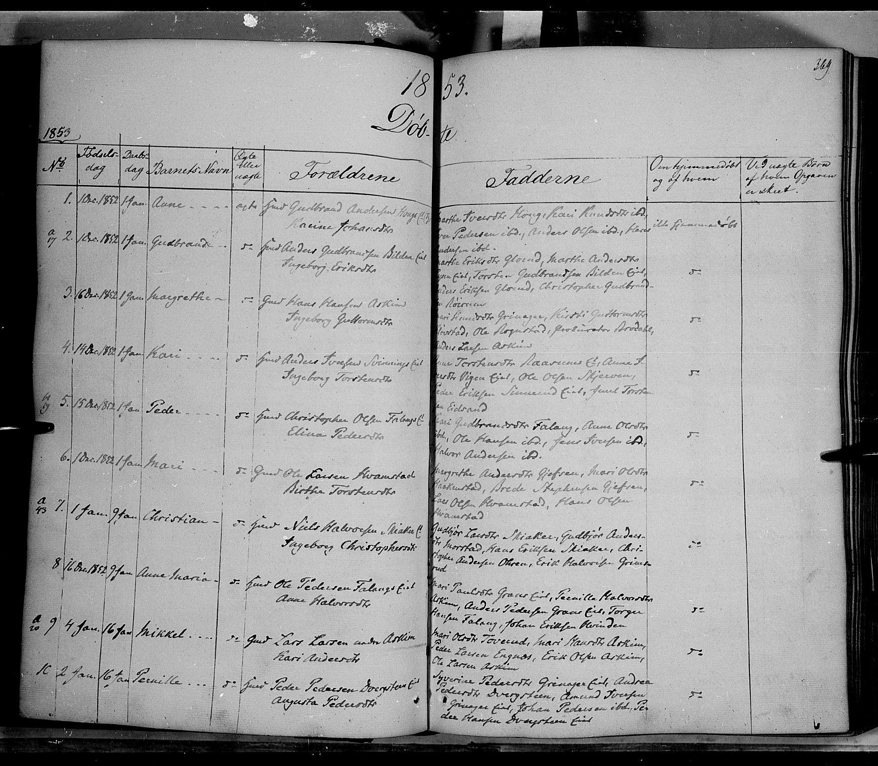 SAH, Gran prestekontor, Ministerialbok nr. 11, 1842-1856, s. 368-369