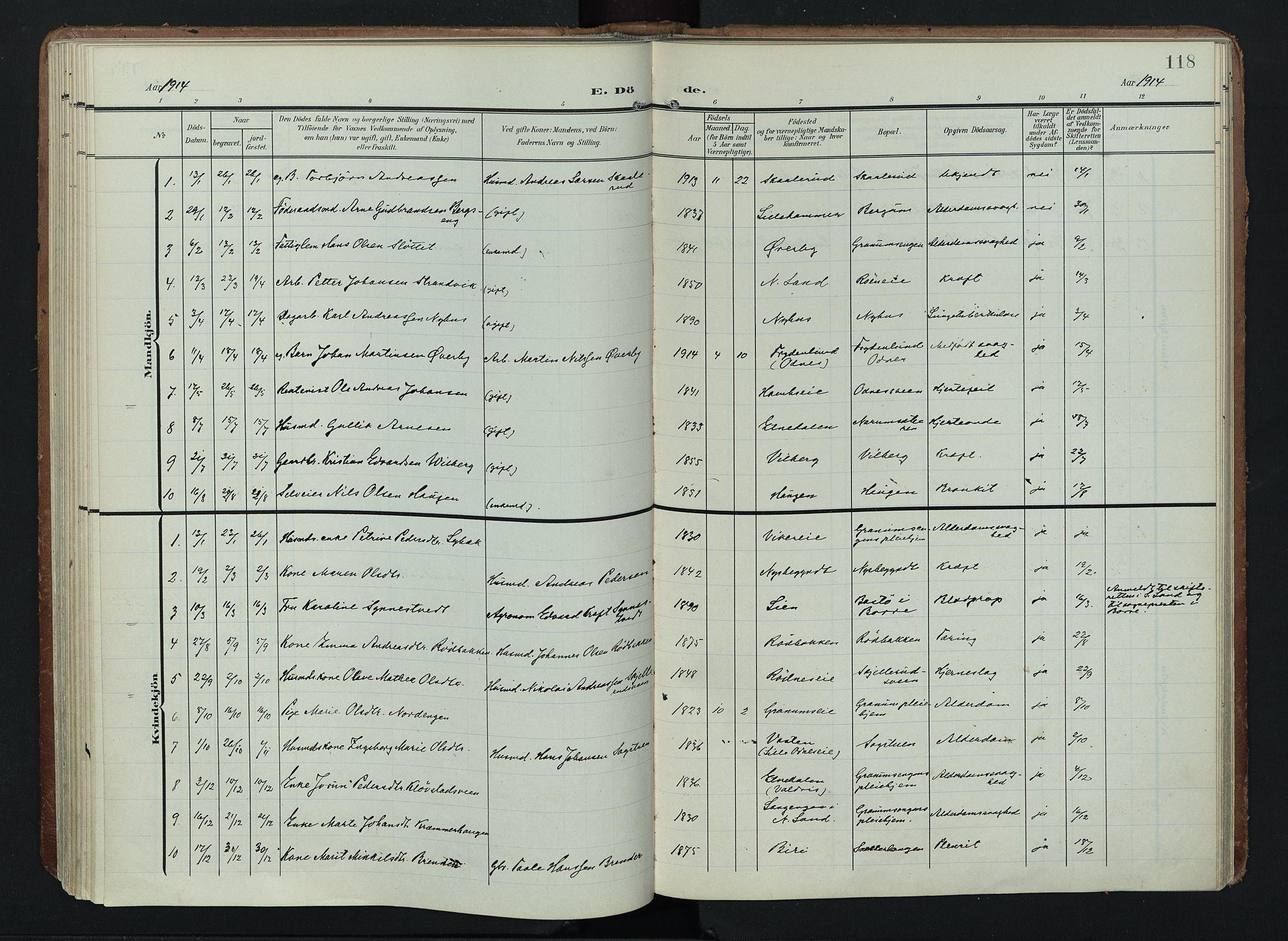 SAH, Søndre Land prestekontor, K/L0005: Ministerialbok nr. 5, 1905-1914, s. 118