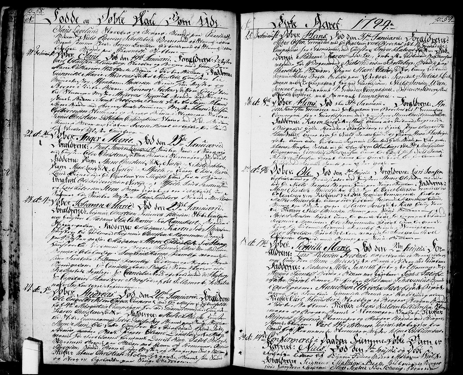 SAO, Halden prestekontor Kirkebøker, F/Fa/L0002: Ministerialbok nr. I 2, 1792-1812, s. 58-59