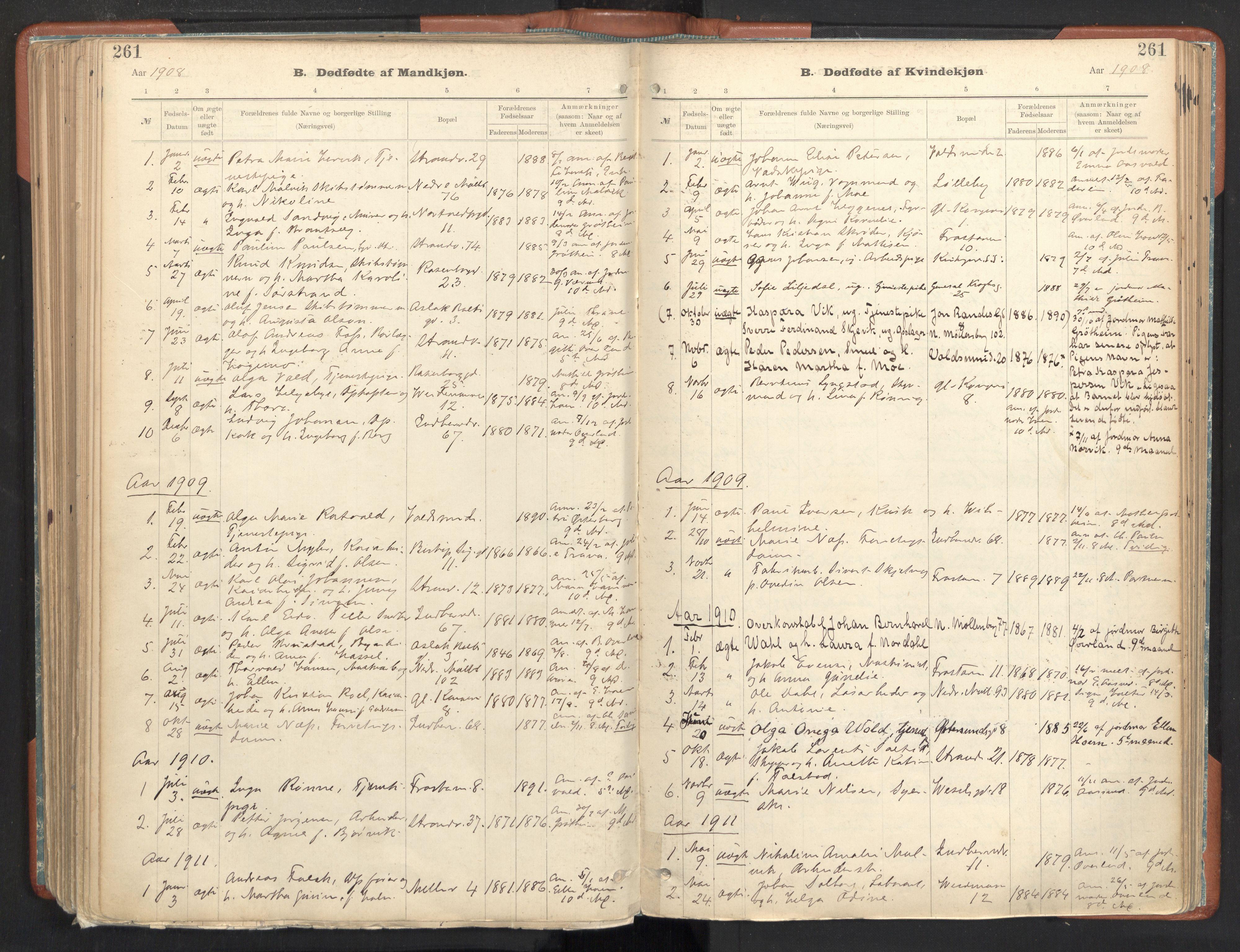 SAT, Ministerialprotokoller, klokkerbøker og fødselsregistre - Sør-Trøndelag, 605/L0243: Ministerialbok nr. 605A05, 1908-1923, s. 261