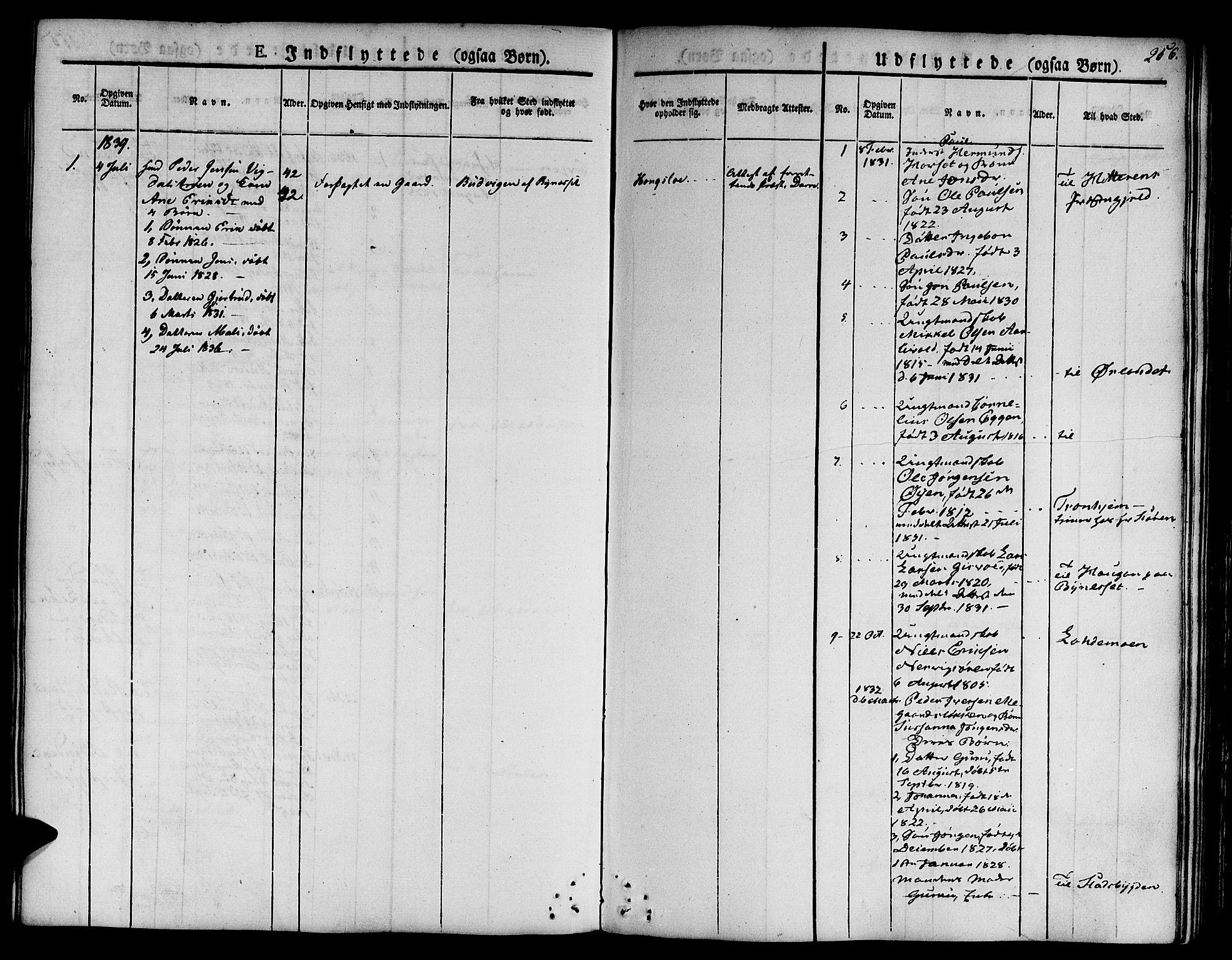 SAT, Ministerialprotokoller, klokkerbøker og fødselsregistre - Sør-Trøndelag, 668/L0804: Ministerialbok nr. 668A04, 1826-1839, s. 256