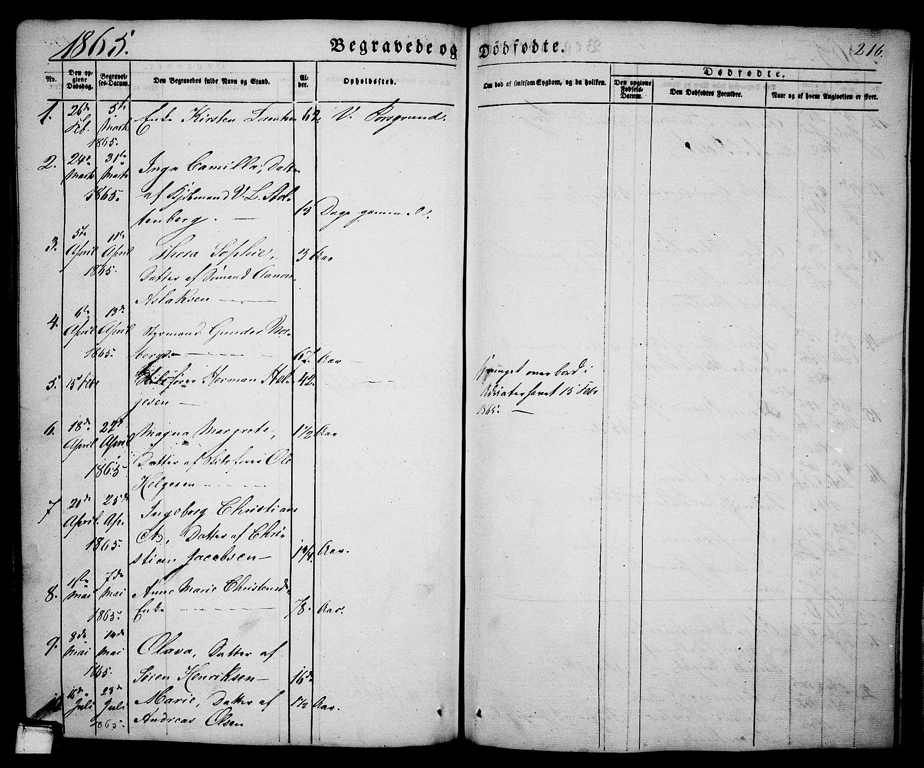 SAKO, Porsgrunn kirkebøker , G/Ga/L0002: Klokkerbok nr. I 2, 1847-1877, s. 216